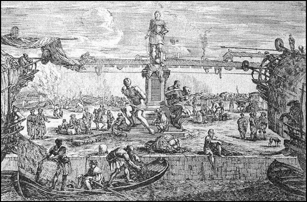 Statue of the four Barbary corsairs as captives. Italian engraving from the seventeenth century of the Monumento dei Quattro Mori (Monument of the Four Moors).