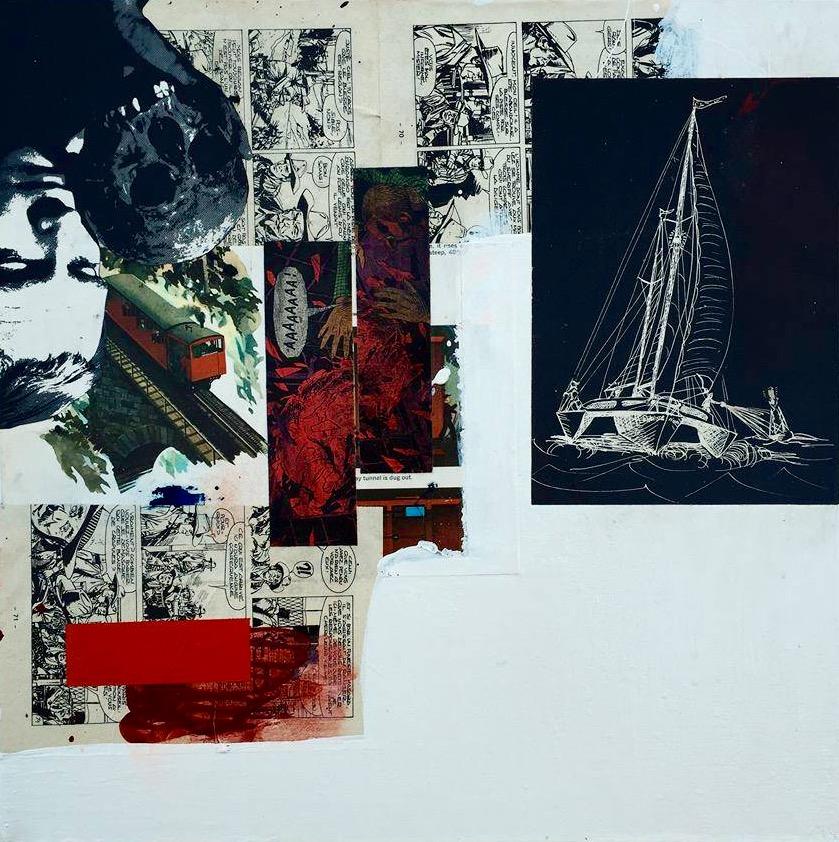 24x24 screenprint collage oil