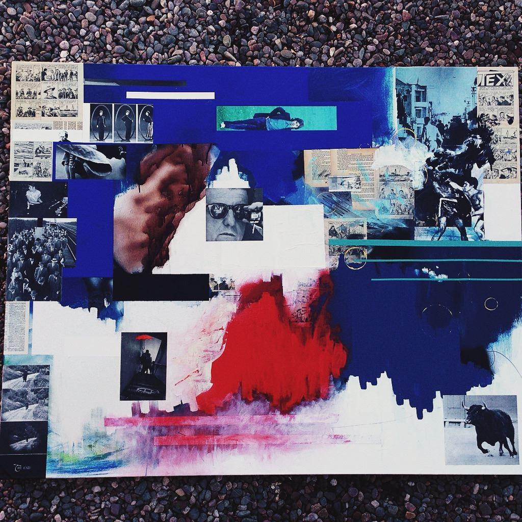 48x60 oil collage spraypaint