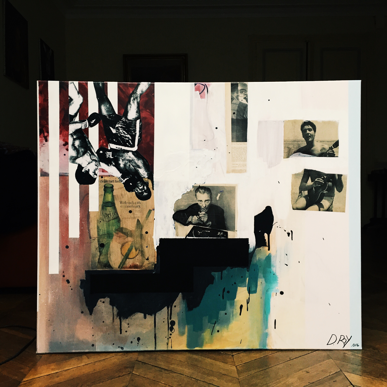 48x60 oil acrylic spraypaint collage screenprint