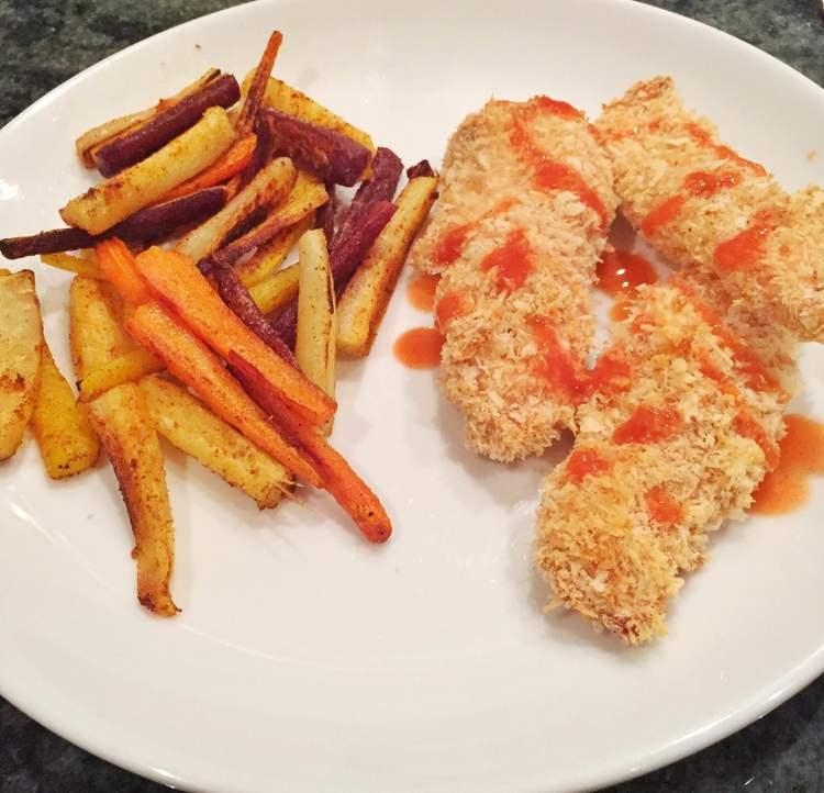 Panko Chicken Fingers + Rainbow Carrot Fries = Relationship Goals