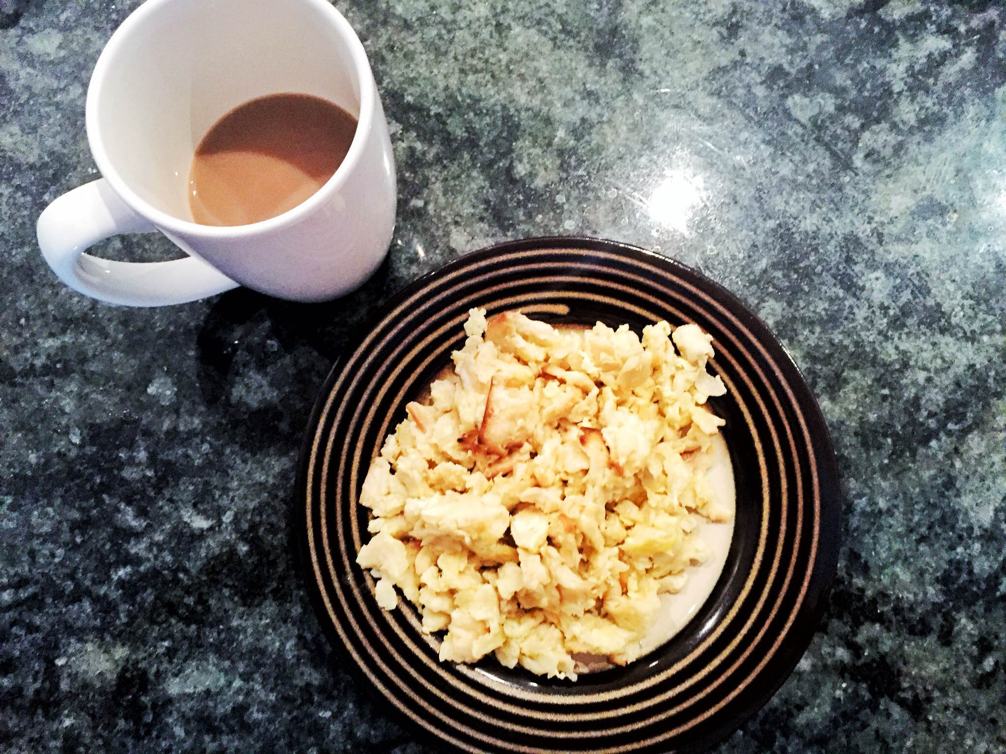 My matzoh brei - scrambled egg style, served with copious amounts of coffee.
