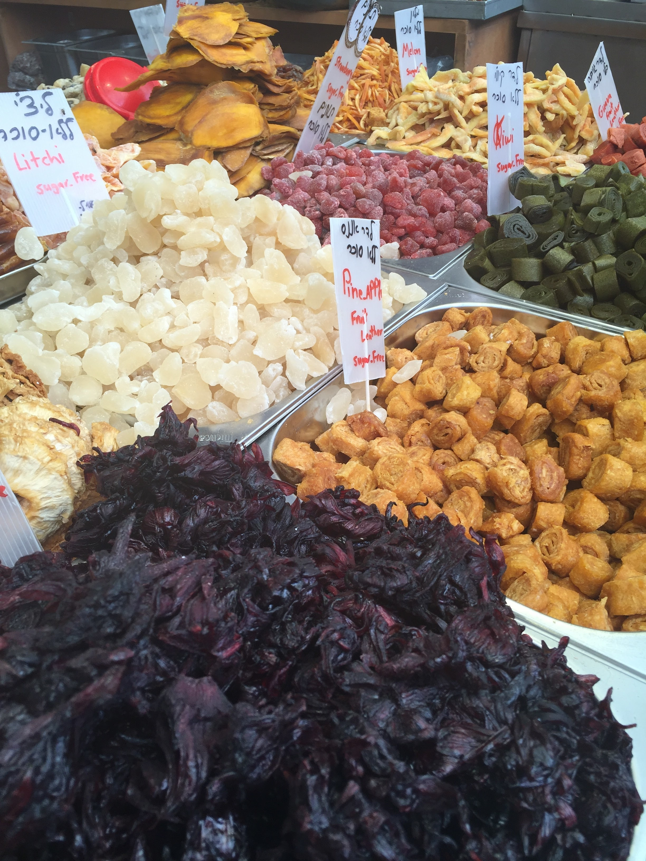 Dried fruit & nuts at the shuk