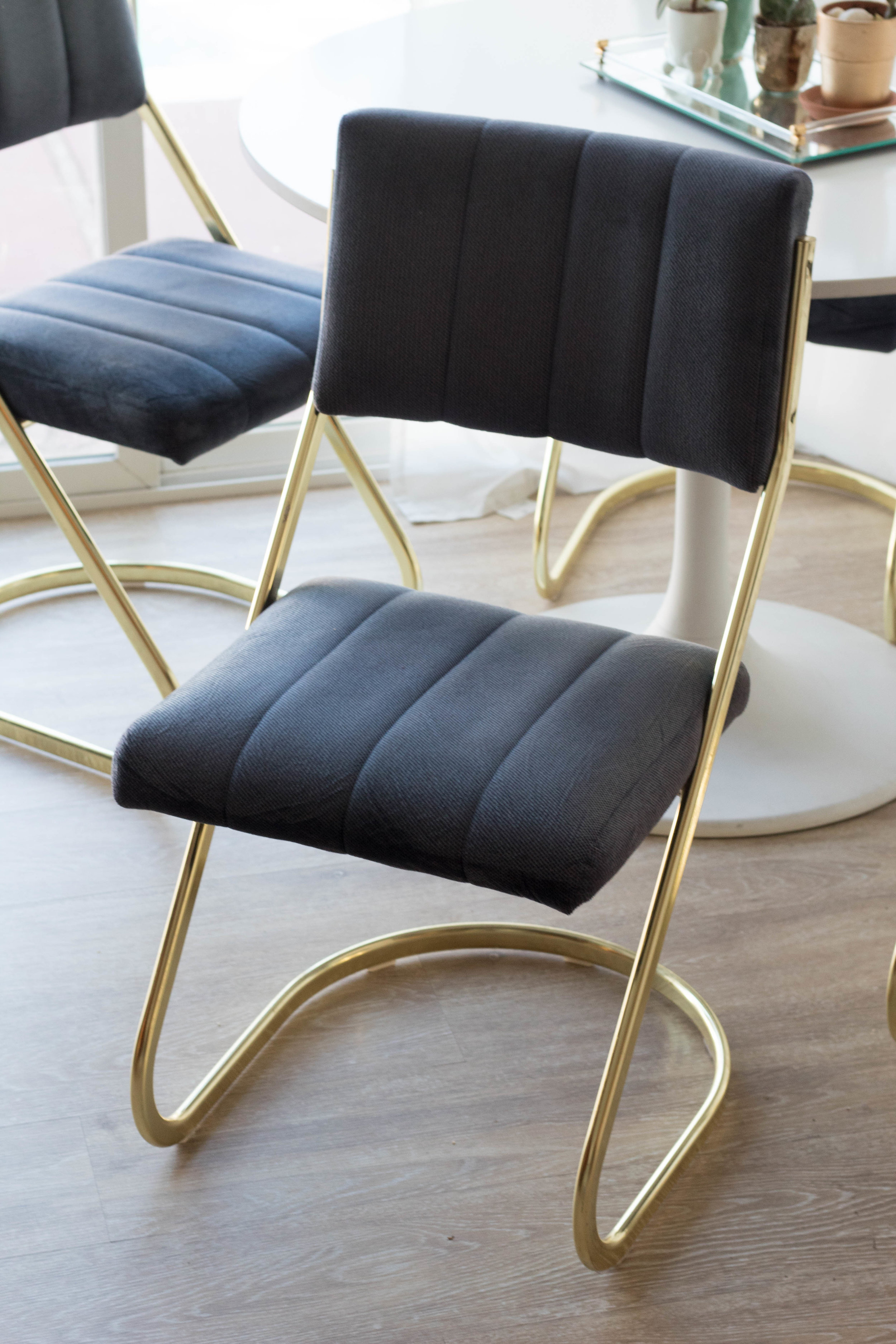 John , Paul, George & Ringo - (4) Blue/gold cantilever chairs
