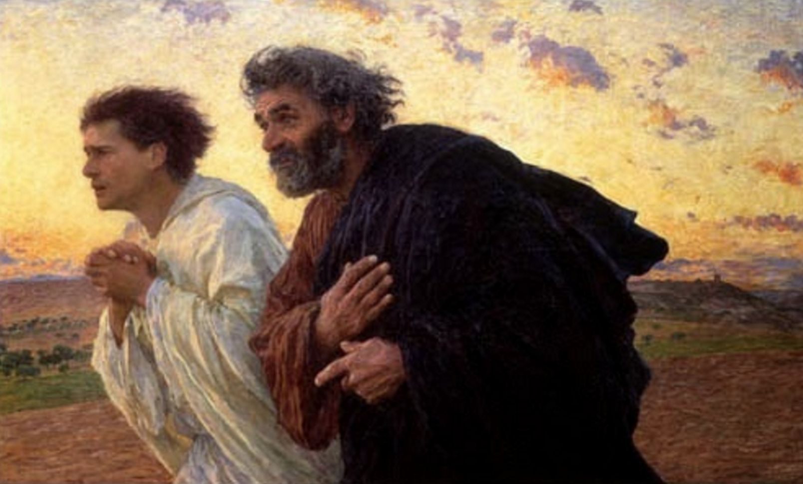 The disciples Peter and John running to the tomb on the morning of the resurrection. Eugène Burnand.
