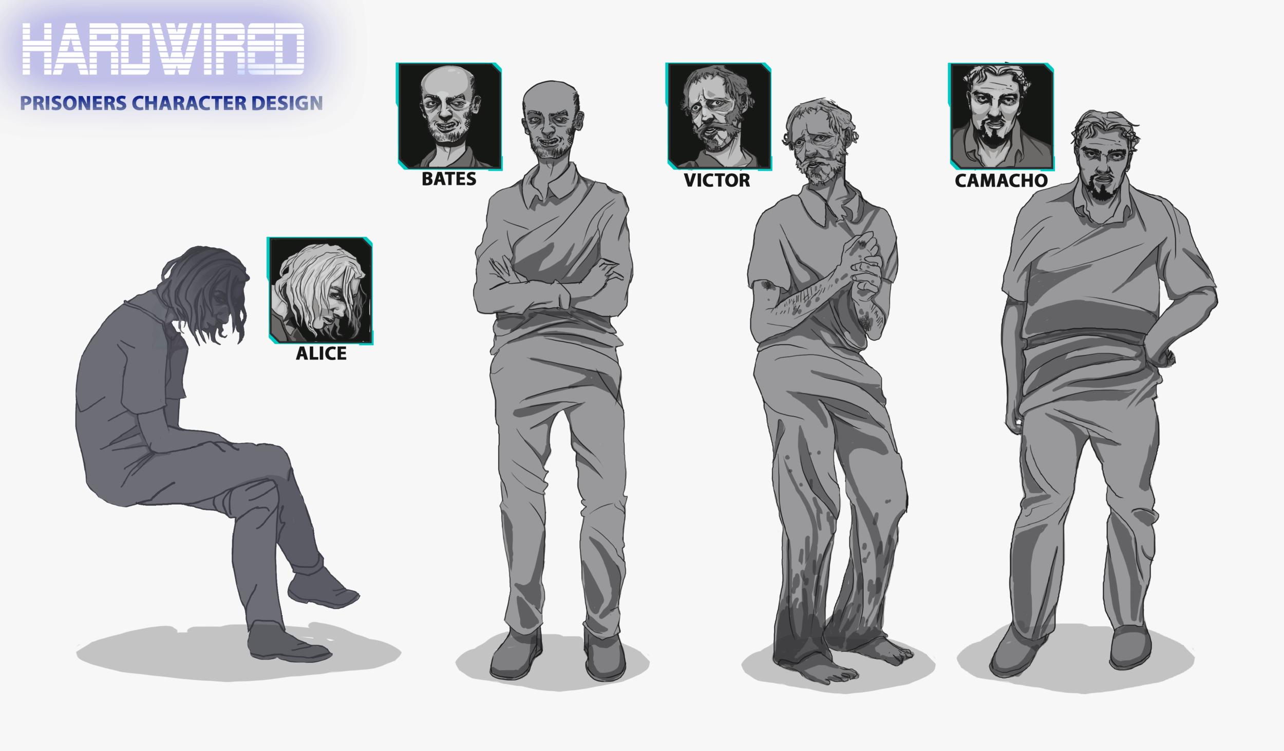 Character Design Sheet - Prisoners by Adela Kapuścińska. 2017.
