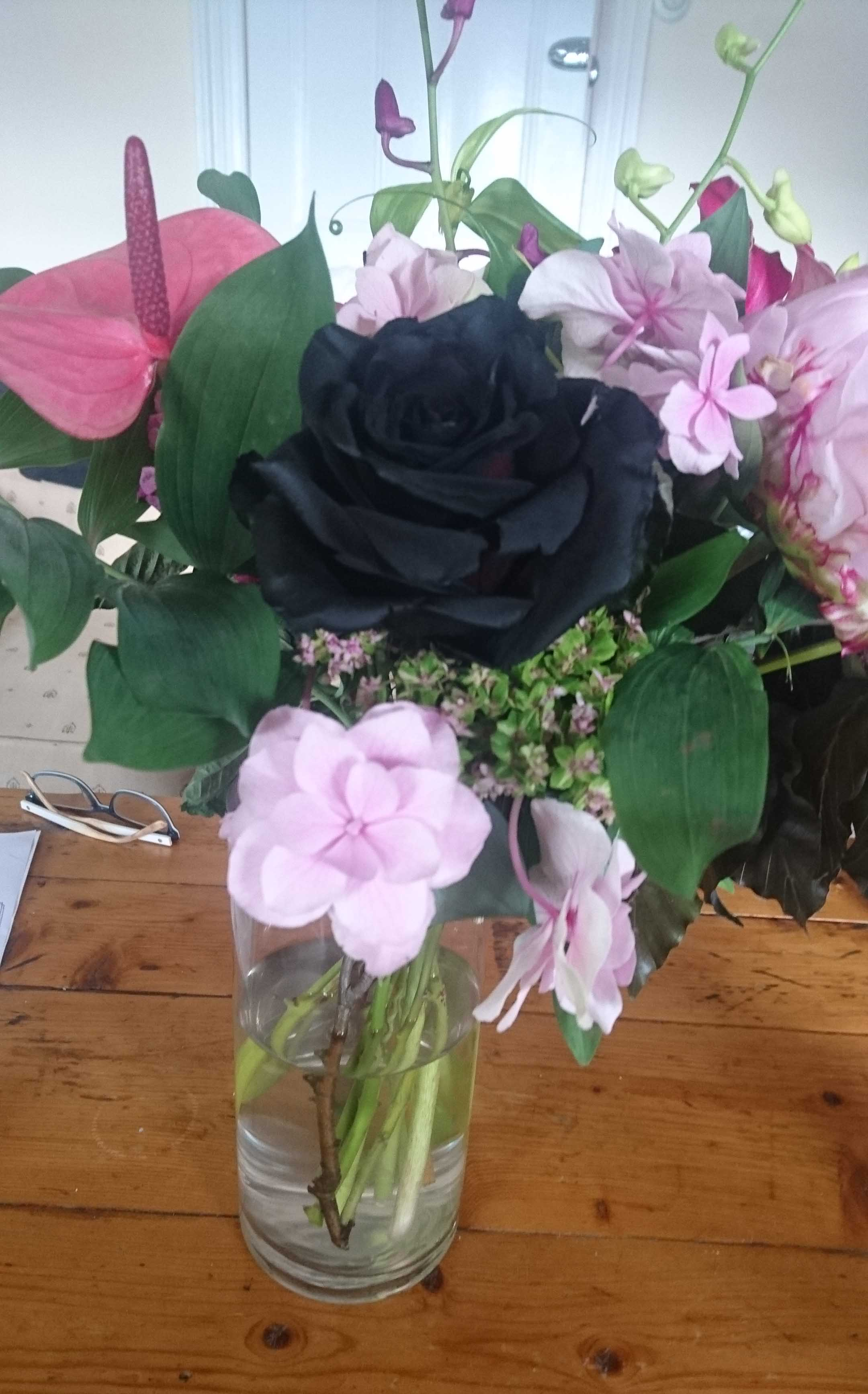 flowers from 'town house' geelong.  We'd been to see a French film in Geelong. A wet afternoon. And on returning a beautiful bouquet from Town House was on the door step. No better way to celebrate their beauty than to draw them.
