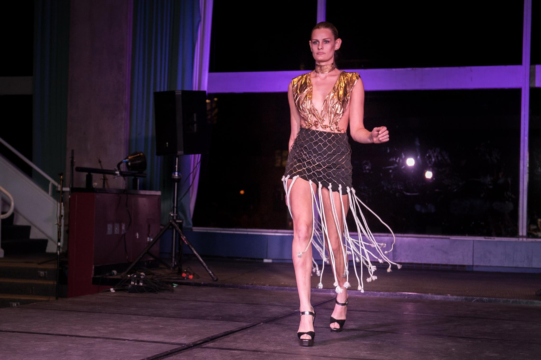 A model struts down the catwalk during the 2015 Trashion Show.