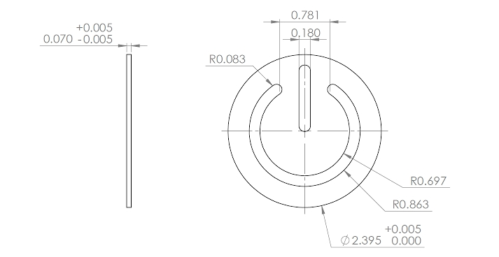 The target dimensions of the yoyo's face, designed to snap-fit into the yoyo's body.