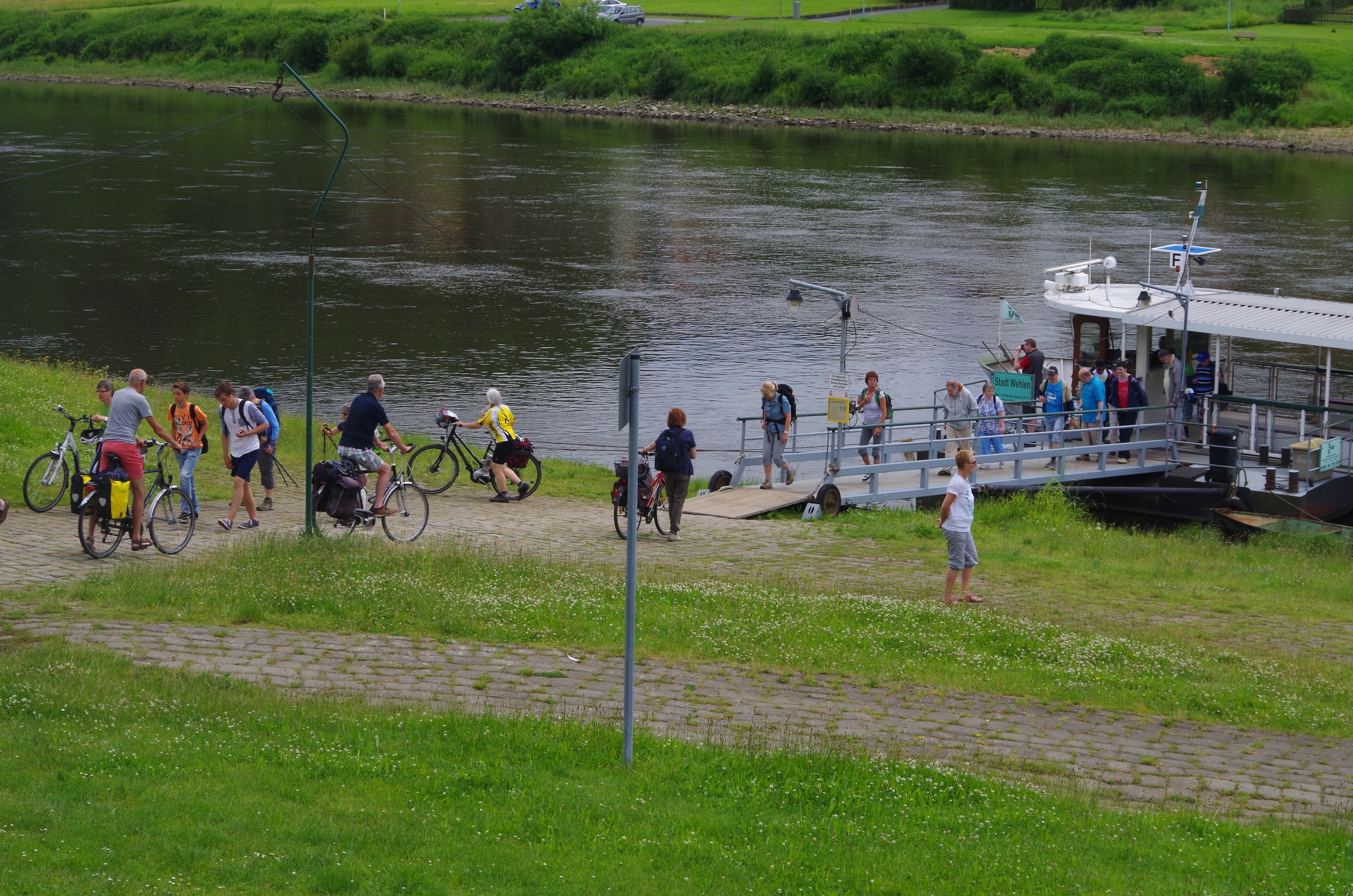 Typical ferry en route - doing good business from the hordes of cyclists