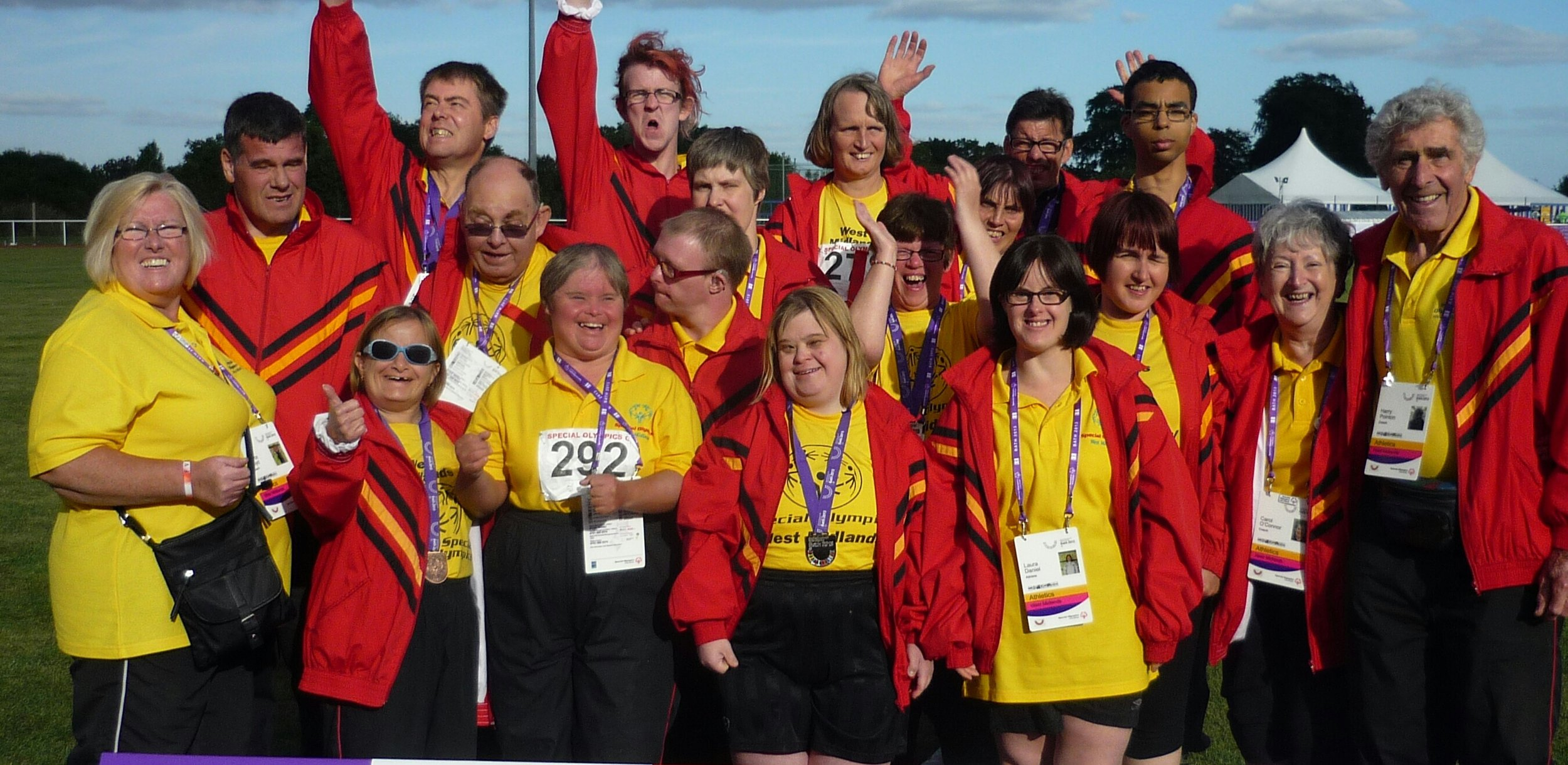 Some of the North Staffordshire athletes at the Special Olympics Games in Bath, 2013. Harry Pointon far right.