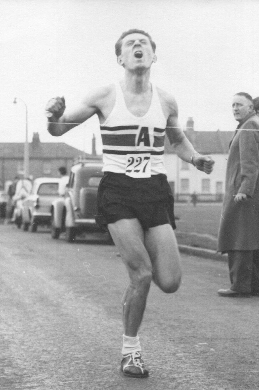 Don winning the Mitcham 25km road race, 1962