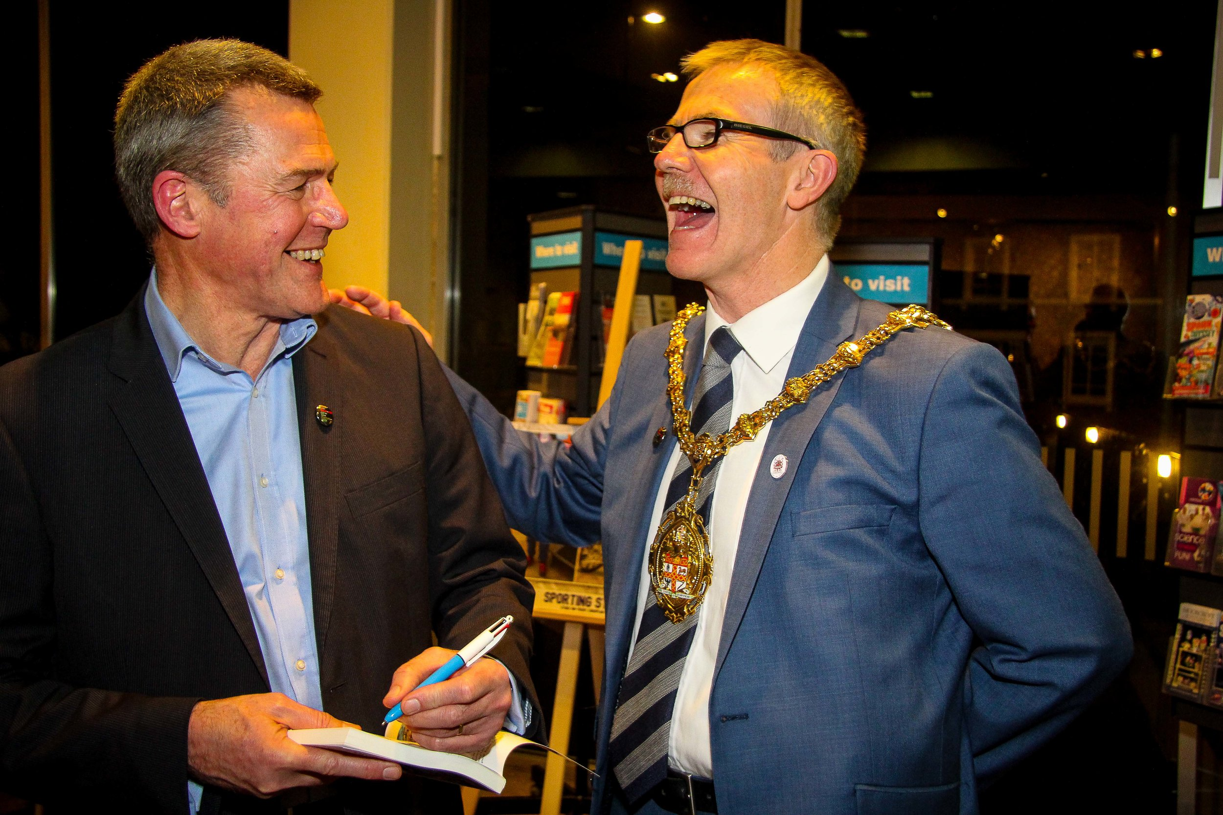 Peter enjoying a joke with Anthony Munday, the Lord Mayor of Stoke-on-Trent (and contributor to Sporting Stories 2016) at the January launch of the new book