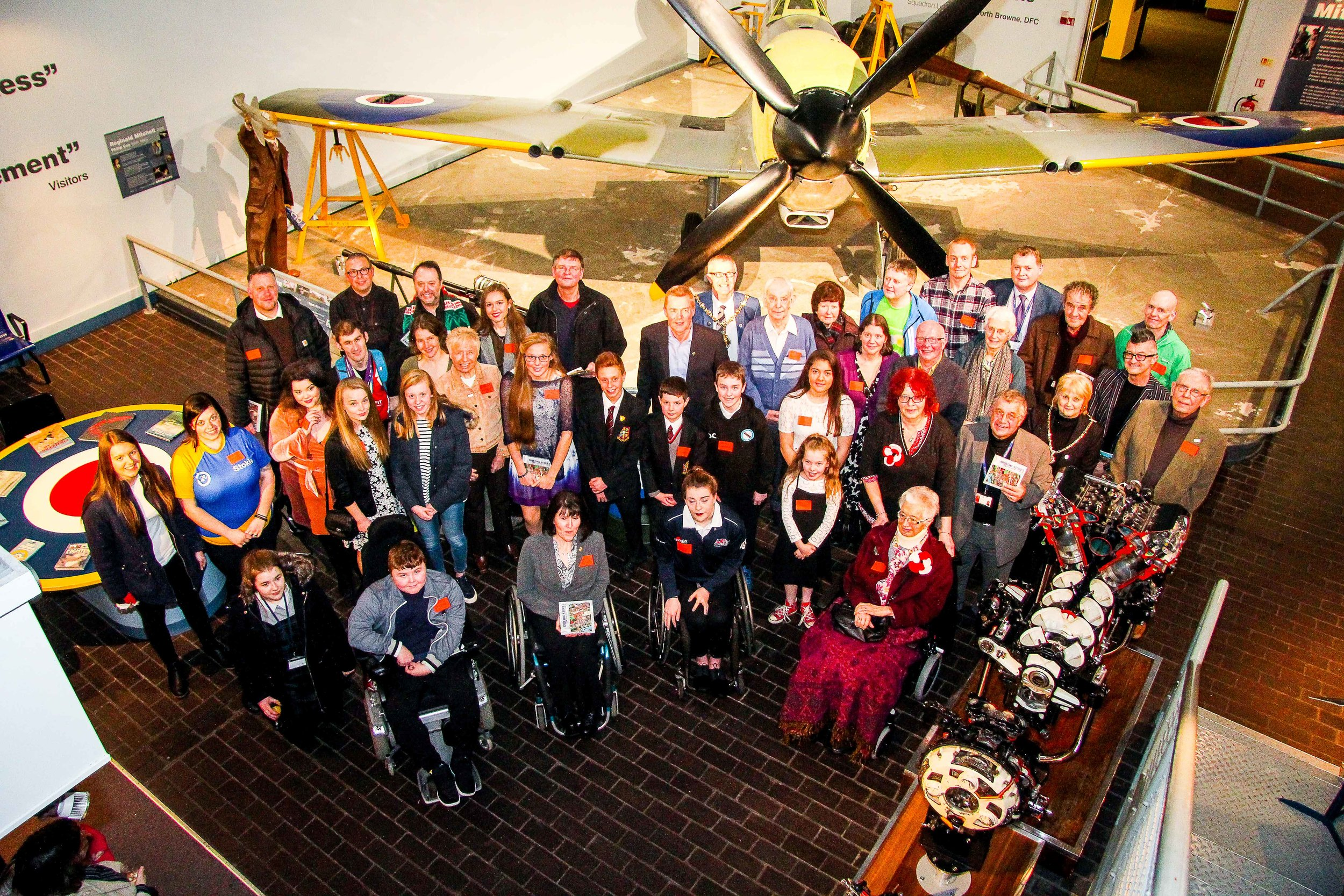 An agglomeration of authors in the Spitfire Gallery! Roughly half of the contributors to Sporting Stories, including (back row second from left) Gaz Williams, who created the beautiful cover artwork