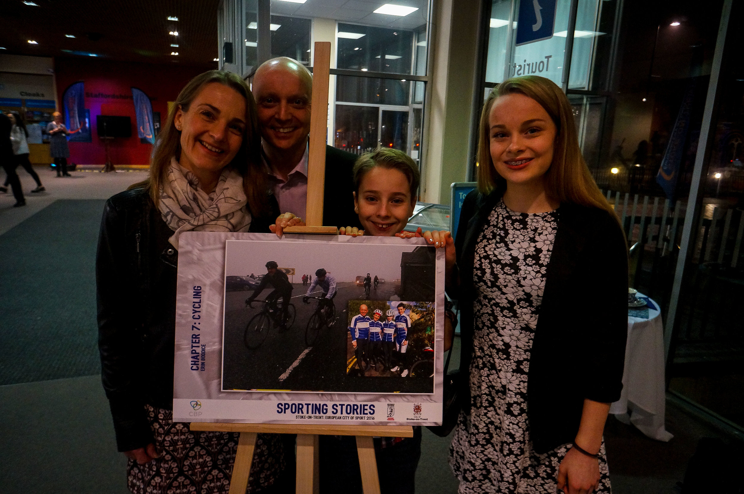Erin (on right) - rising cycling star, Cat & Fiddle Challenge completer and author - with her family (cyclists all!)