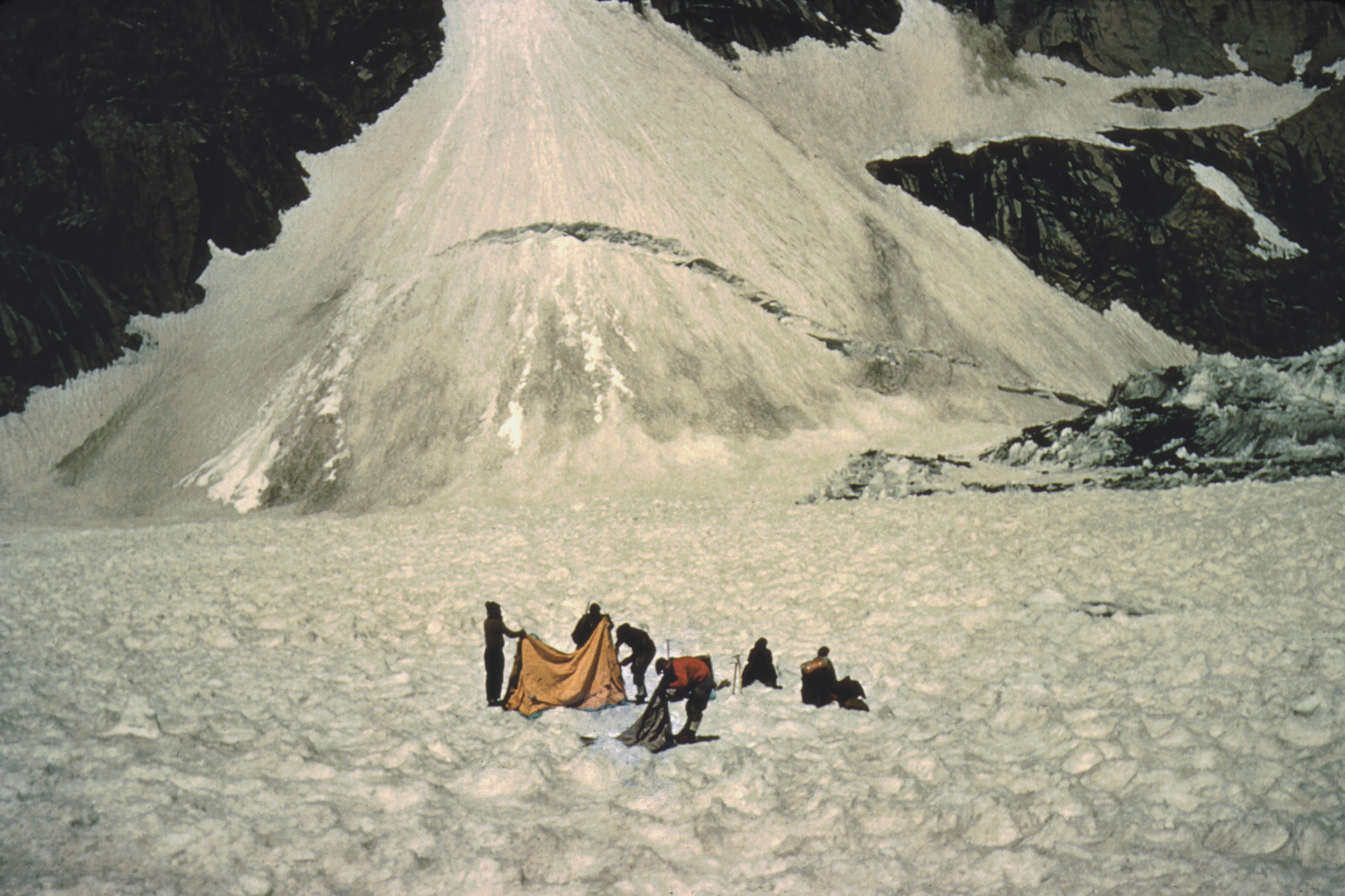 Camp 3 below the couloir at about 18,500ft (photo from Ted Norrish collection)