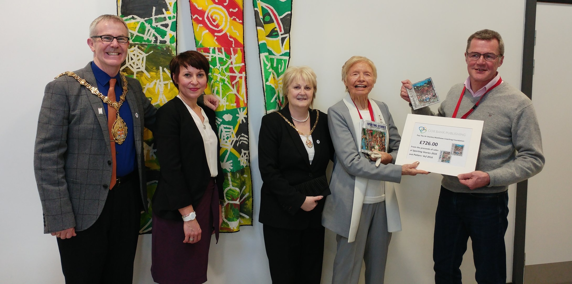 Peter Hooper handing over the cheque to Jean Gough, with (left to right): Stoke-on-Trent's Lord Mayor Anthony Munday; Lisa Hughes, headteacher at Kemball School; and Lady Mayoress Paula Munday