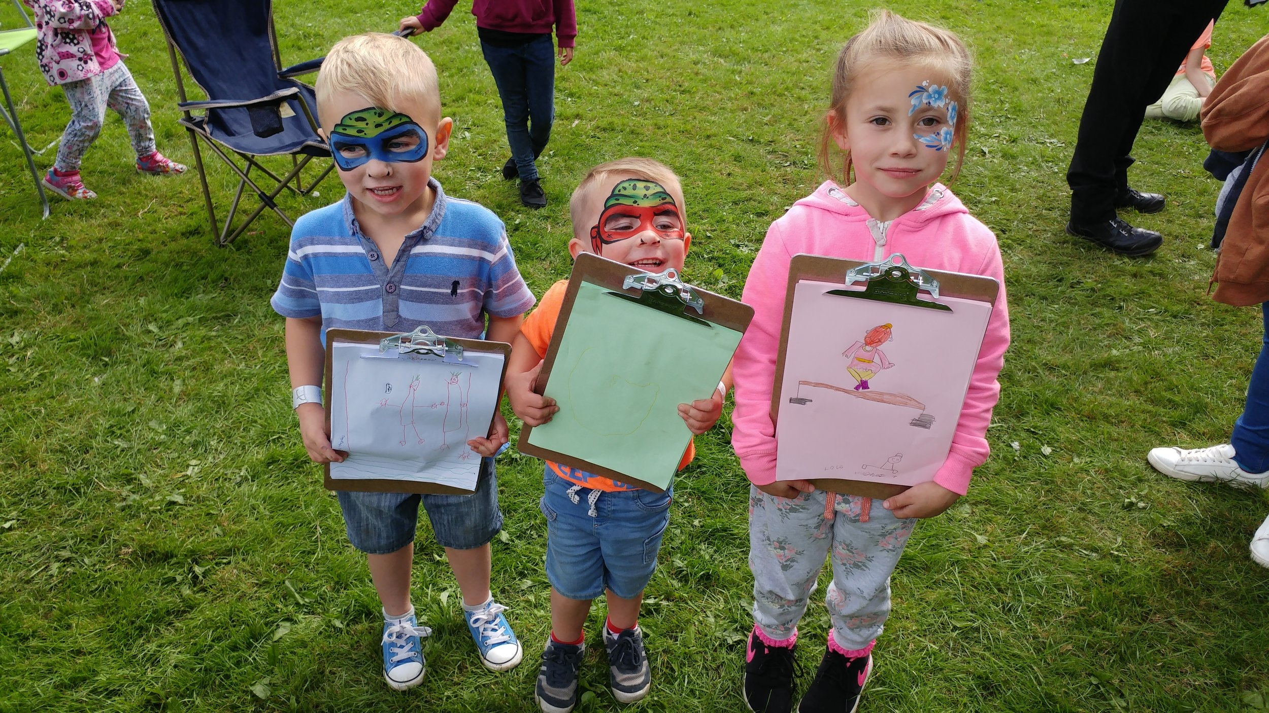 A hat-trick of artwork - from Kane, Archie and Lola Hughes at the Middleport Park event