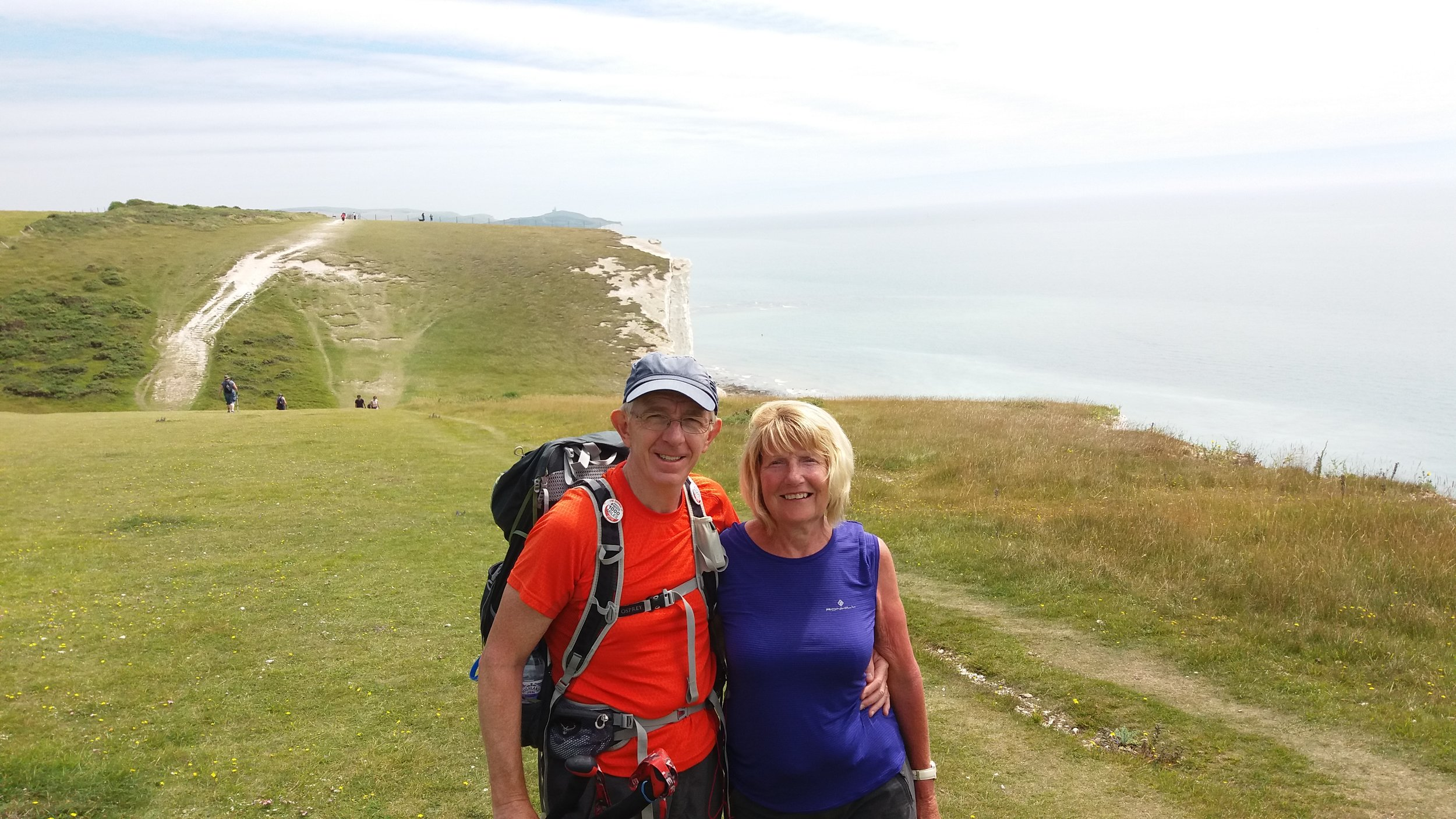 Nearly there! Martin and Maureen above the Seven Sisters cliffs near Eastbourne