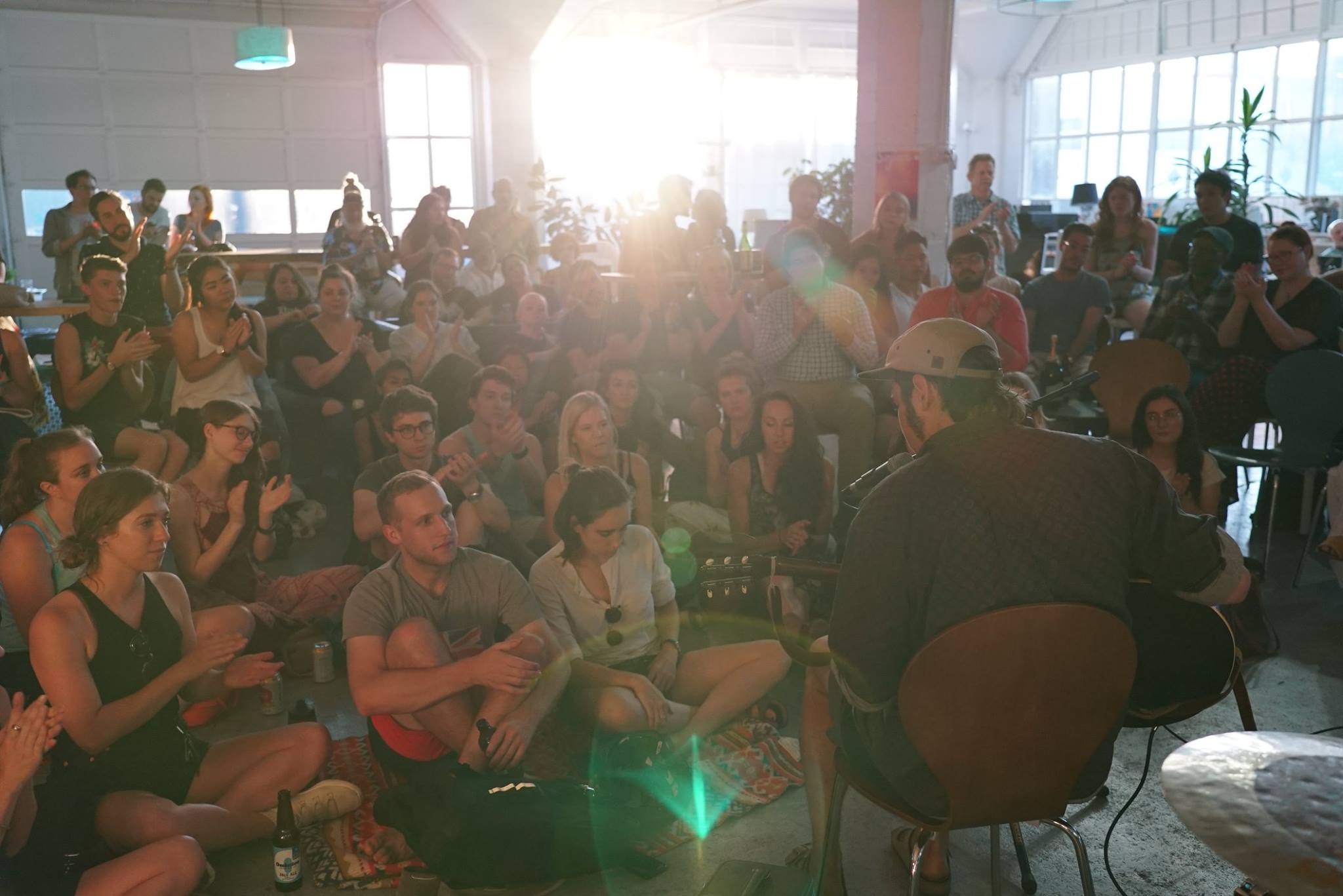 I'm in the far left corner of this pic from July's Sofar Sounds in Portland
