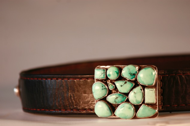Plain leather belt. Turquoise and silver buckle.  Variable sizes.