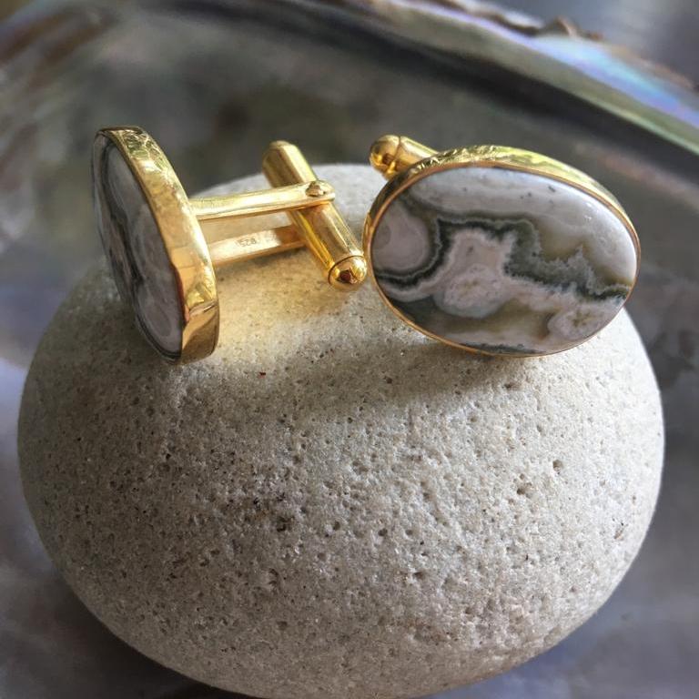 Jasper Stone Cufflink w Gold Cufflink Back