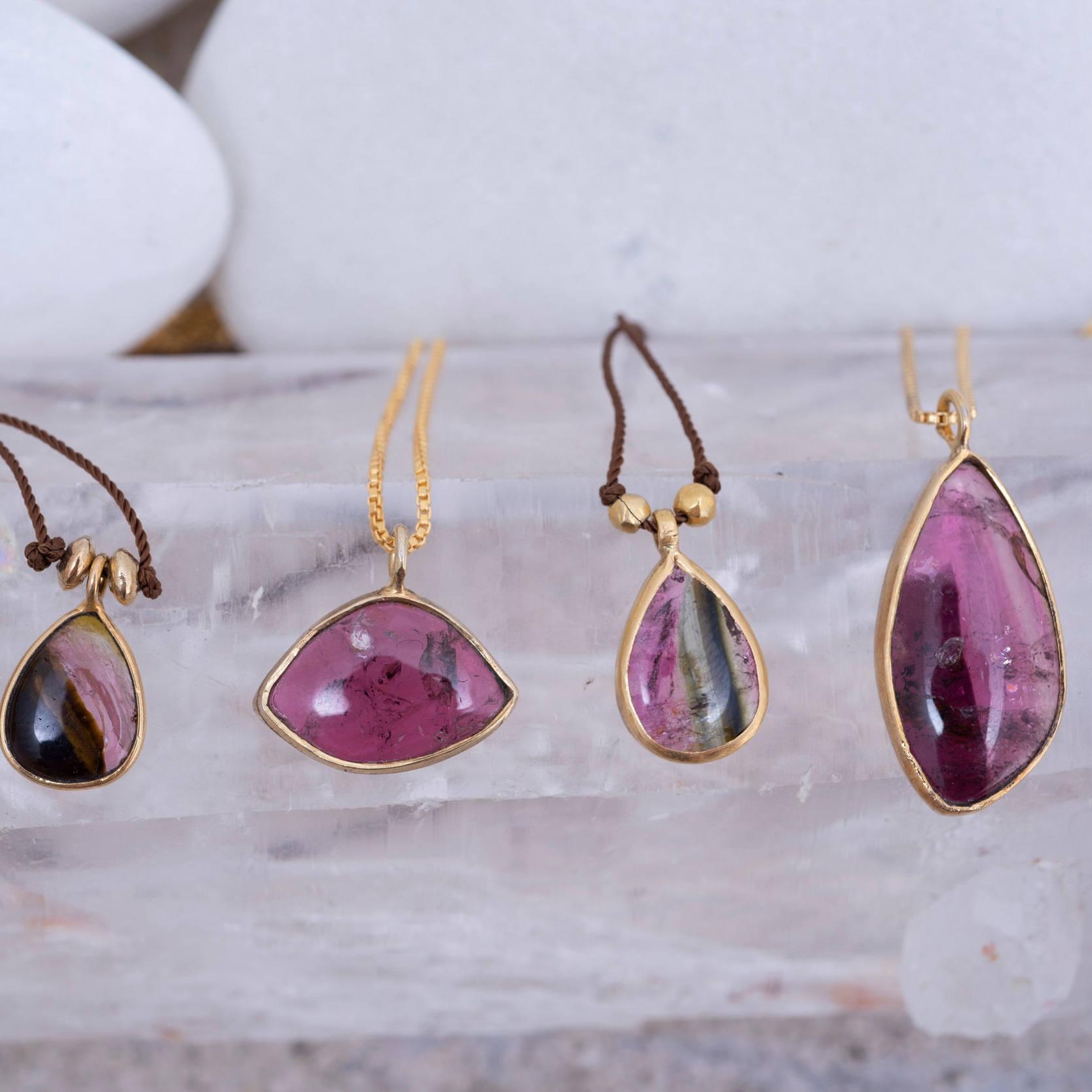 Assorted tourmaline pendants, various sizes with 18ct gold beads & bezel. All one-offs, yet very affordable  get in touch  to see what's available.