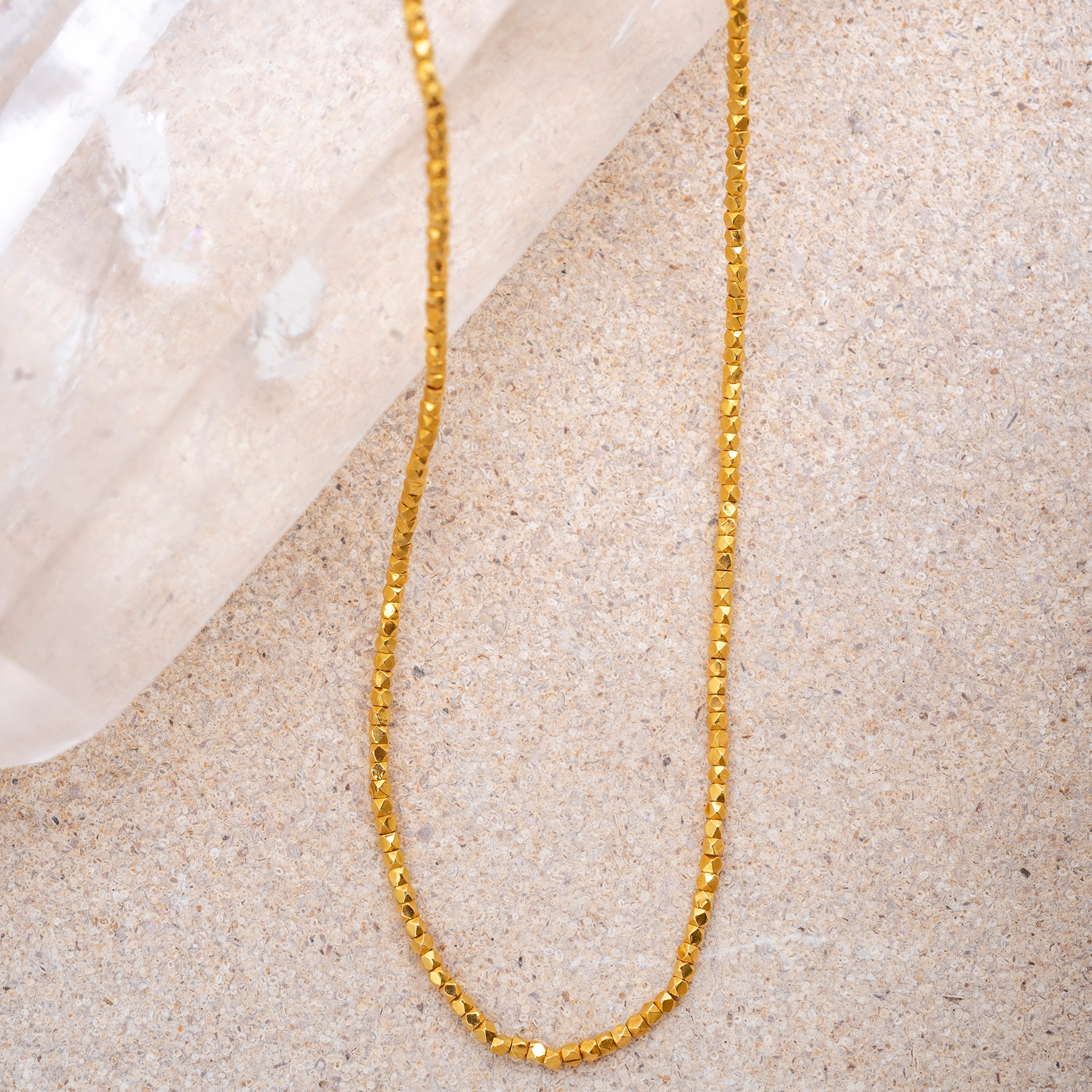 Gold Faceted Beads Necklace. A stunningly individual, 45cm necklace in 18ct gold.