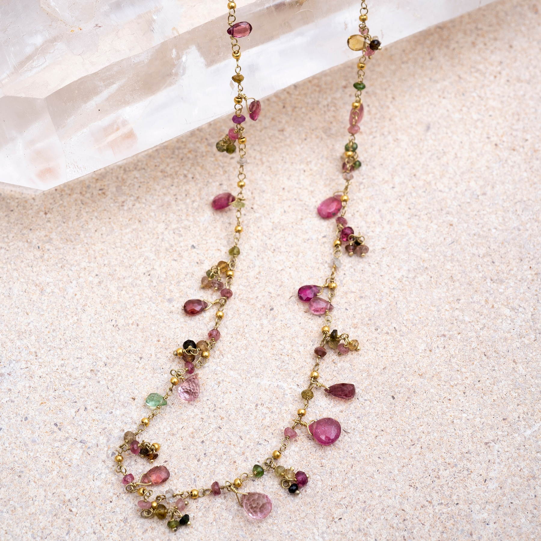 Multi-Coloured Tourmaline Necklace. Beautiful tourmaline drops suspended from a gold chain. 46cm long, each one unique - please  email us for more photos and costs .