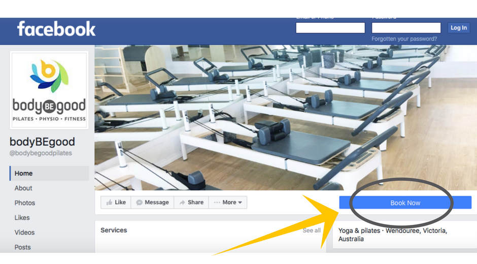 Here's where you will find the 'Book Now' button on our Facebook page...