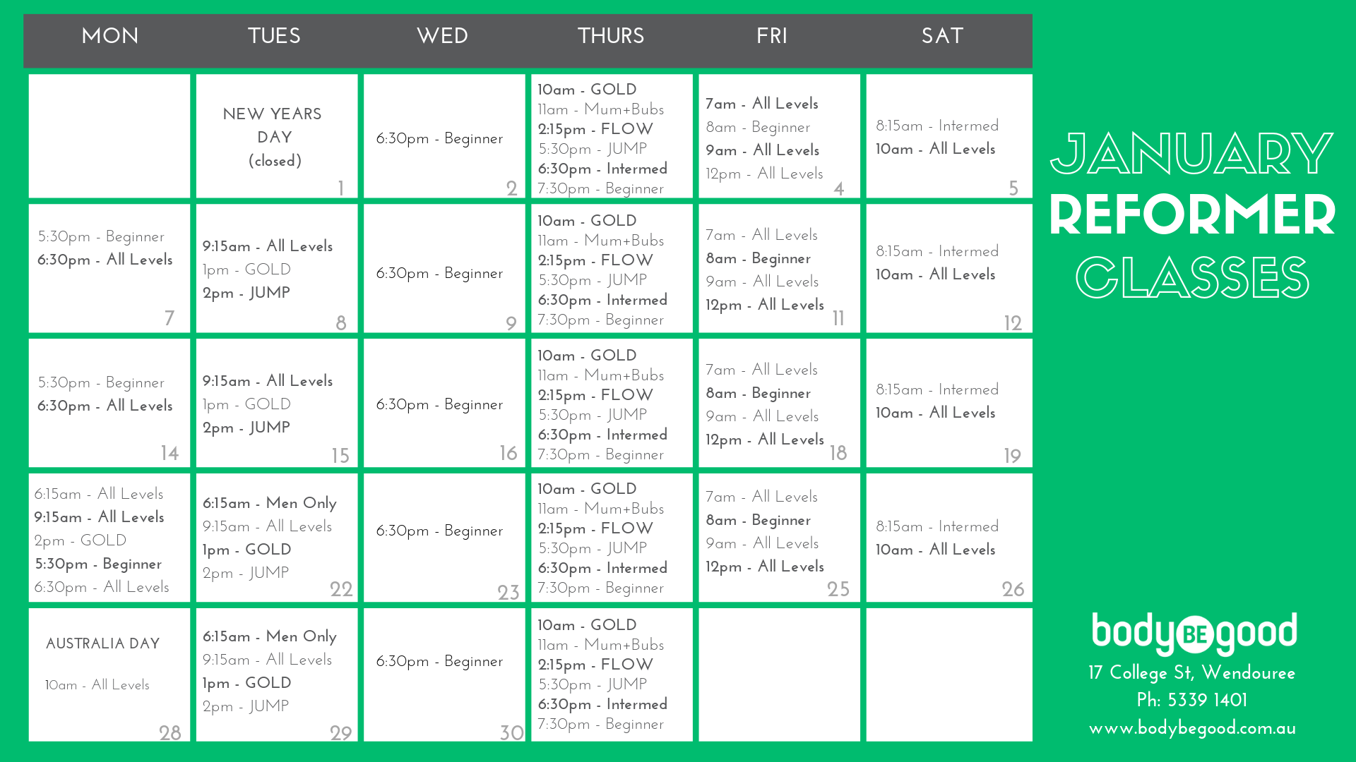 January Pilates Timetable Body BE Good