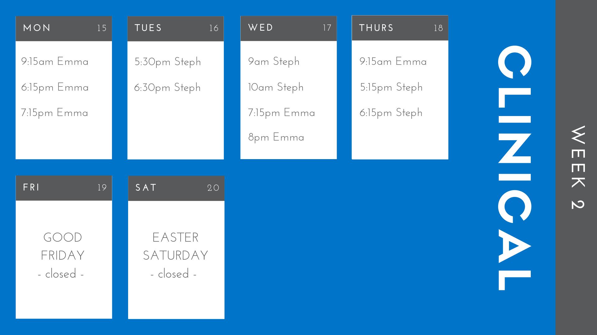 Week Two - April 15th - April 21st