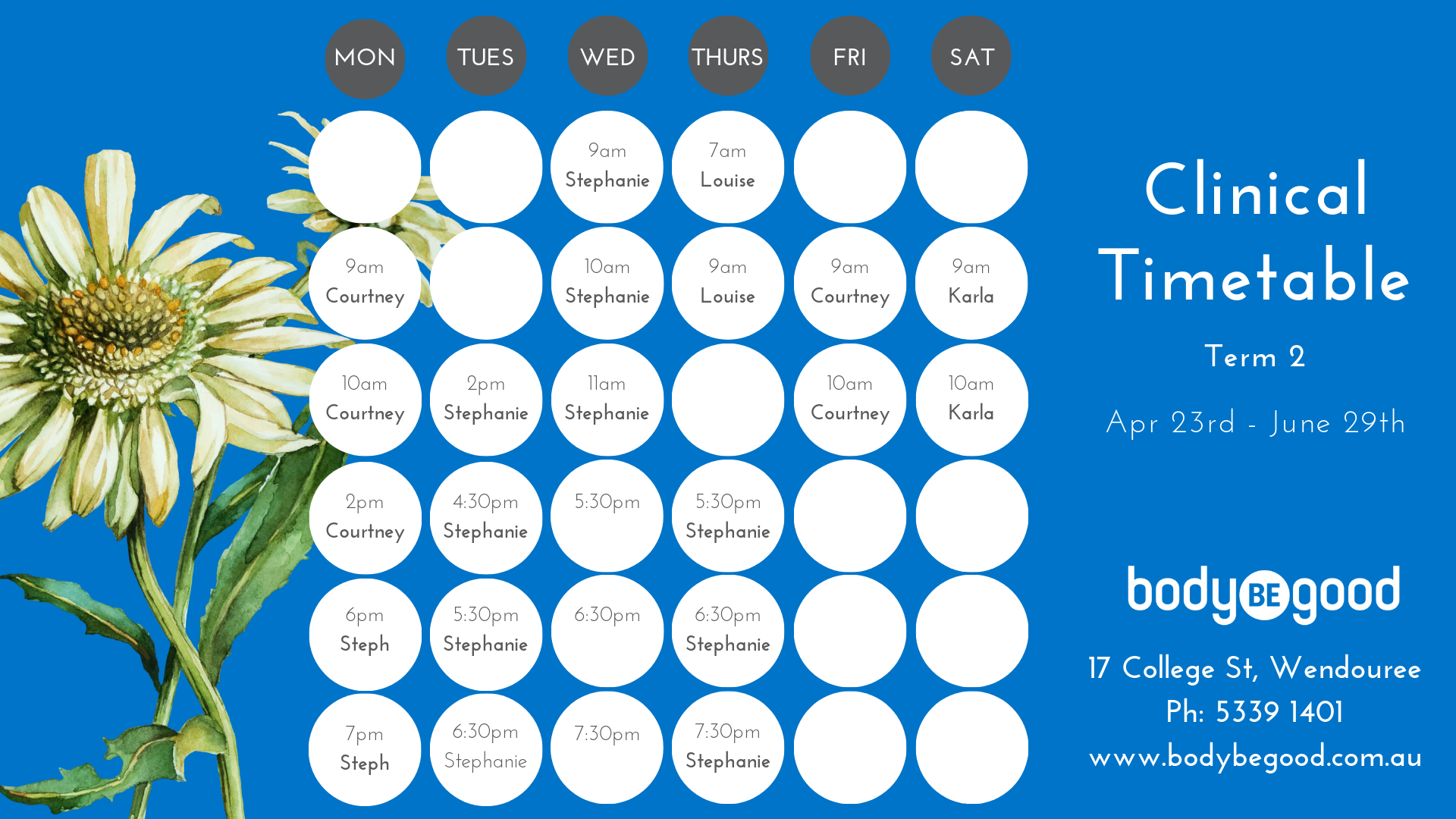 Clinical Pilates Class Timetable