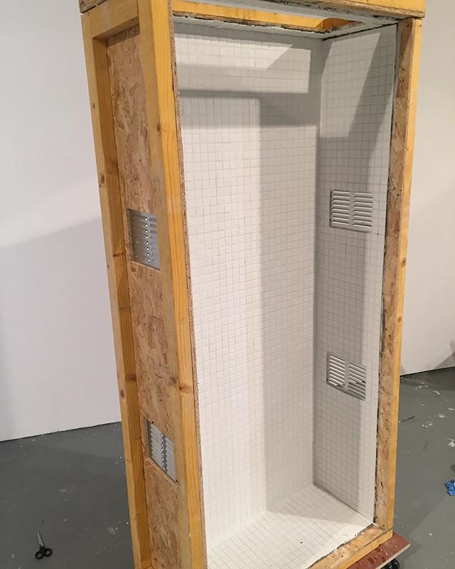 Install day two 💥💥 {#contemporaryart #contemporarysculpture #art #sculpture #tiles #mushrooms}