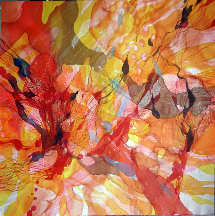 John Martono,  Morning Whispers,  Paint on Silk with Hand Stitching. Available  here .