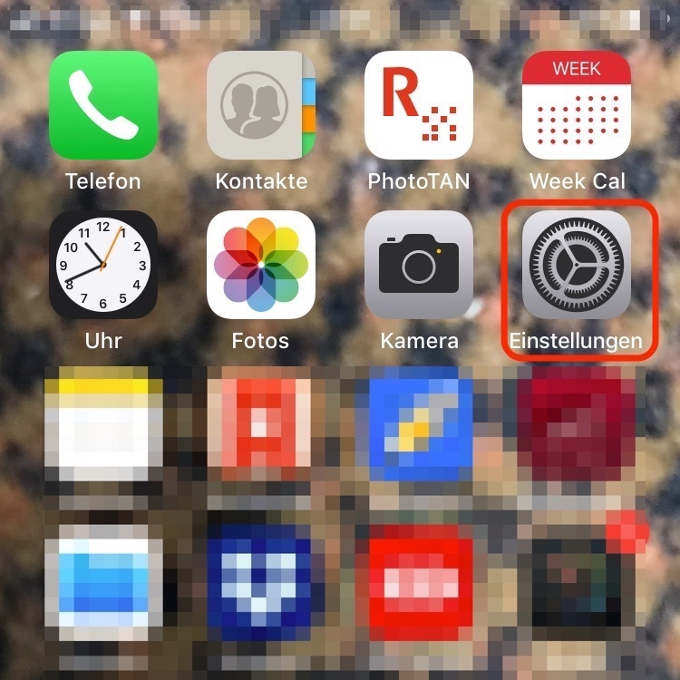 """1. Öffne die App """"Einstellungen"""""""
