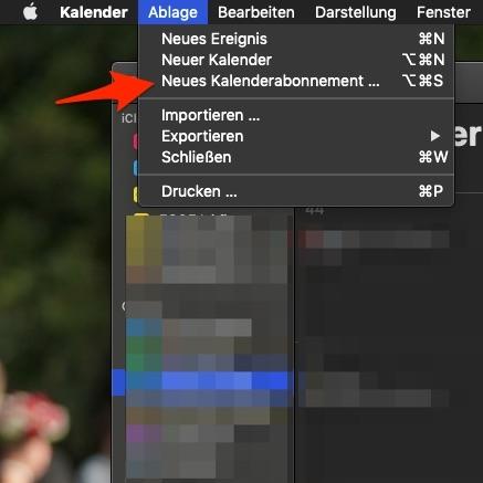 """2. """"Ablage"""" >> """"Neues Kalenderabonnement…"""""""