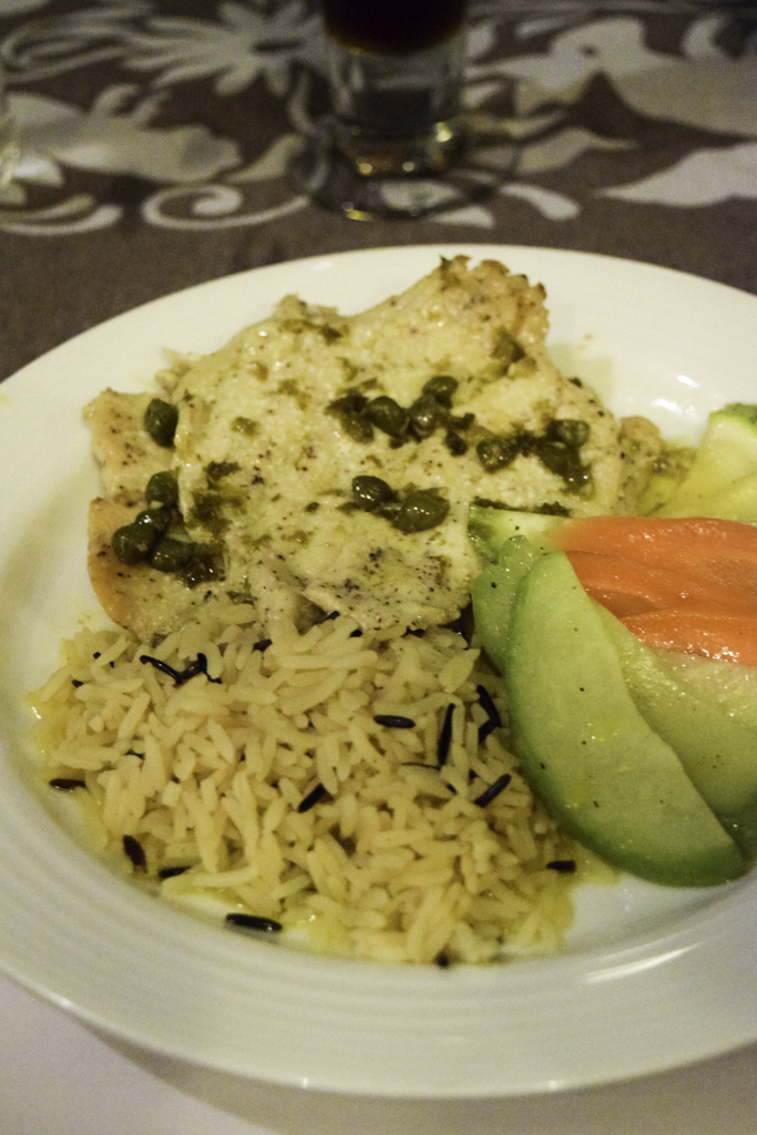 Grilled White Fish with Rice and Capers