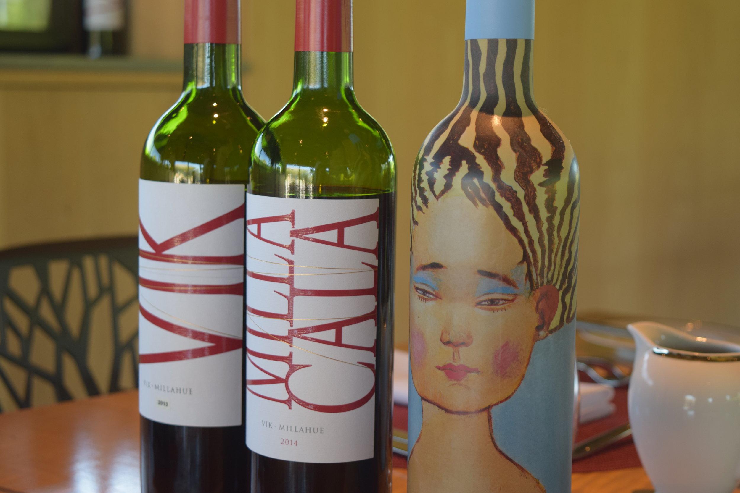 Vina Vik's three wines, VIK, Milla Cala, and La Piu Belle