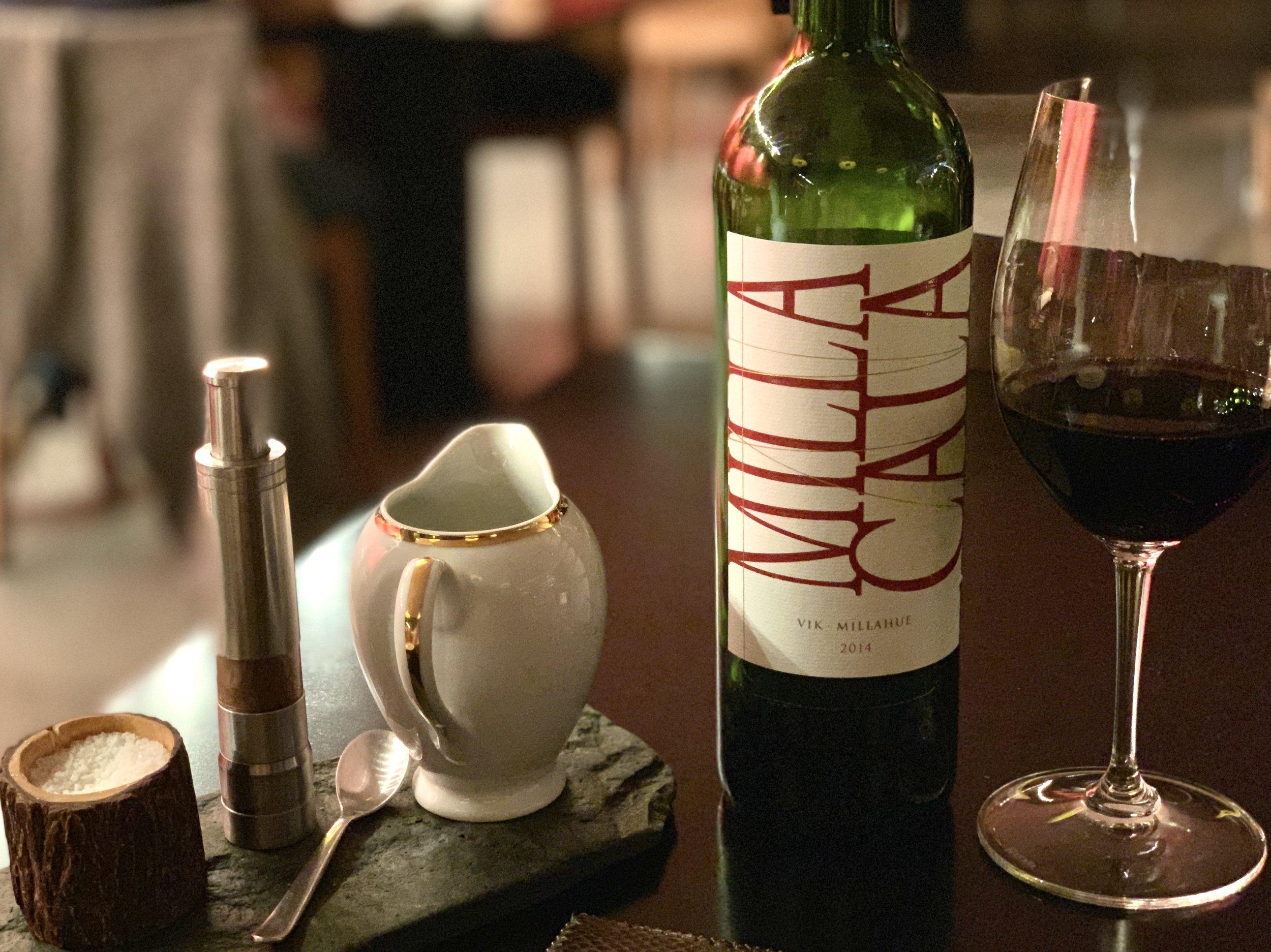 Milla Cala Wine at the Milla Milla Restaurant at VIK Chile Retreat