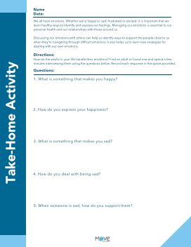 social emotional learning take home family interview activity