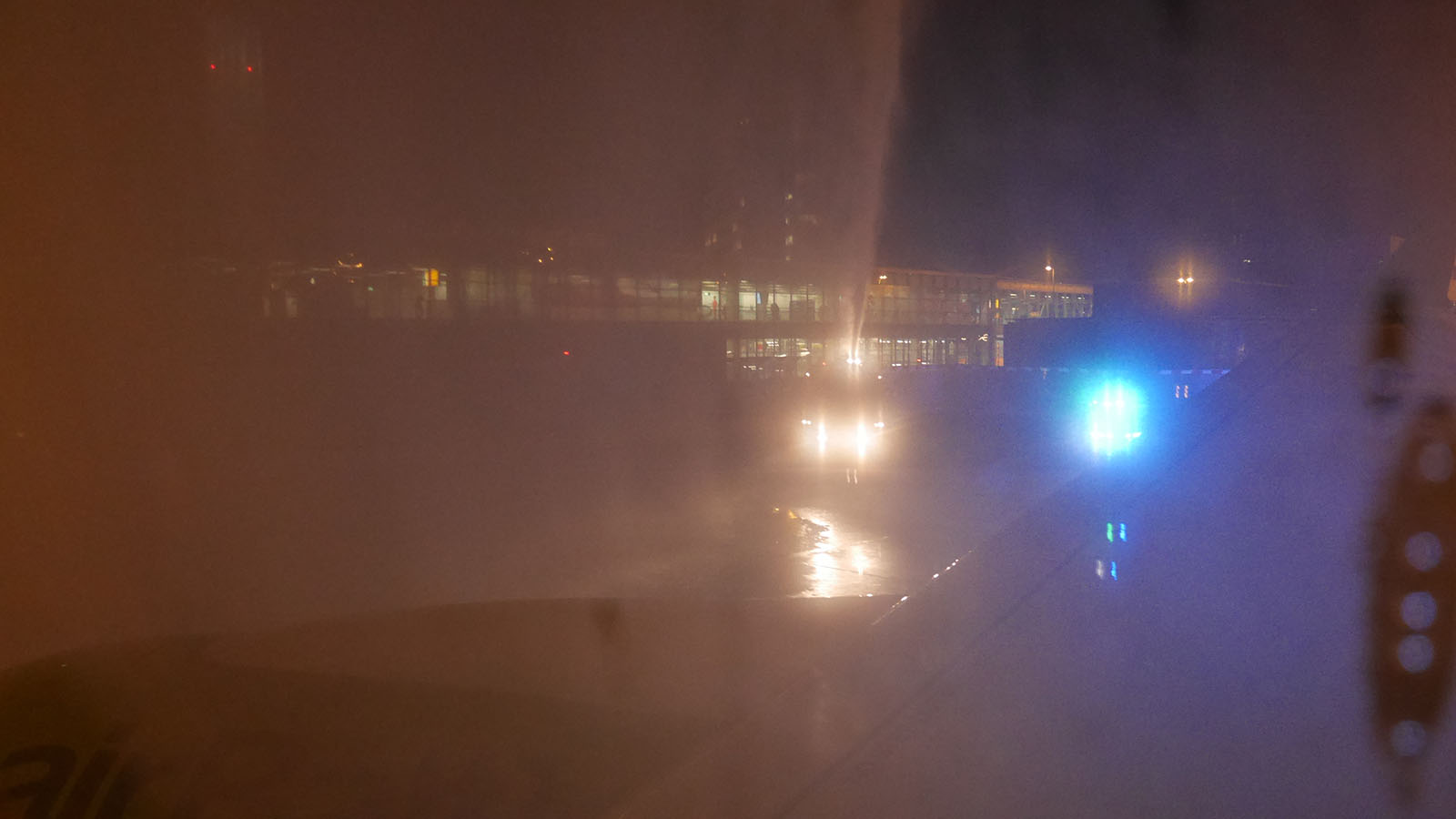 Got the water cannon salute after landing in Amsterdam