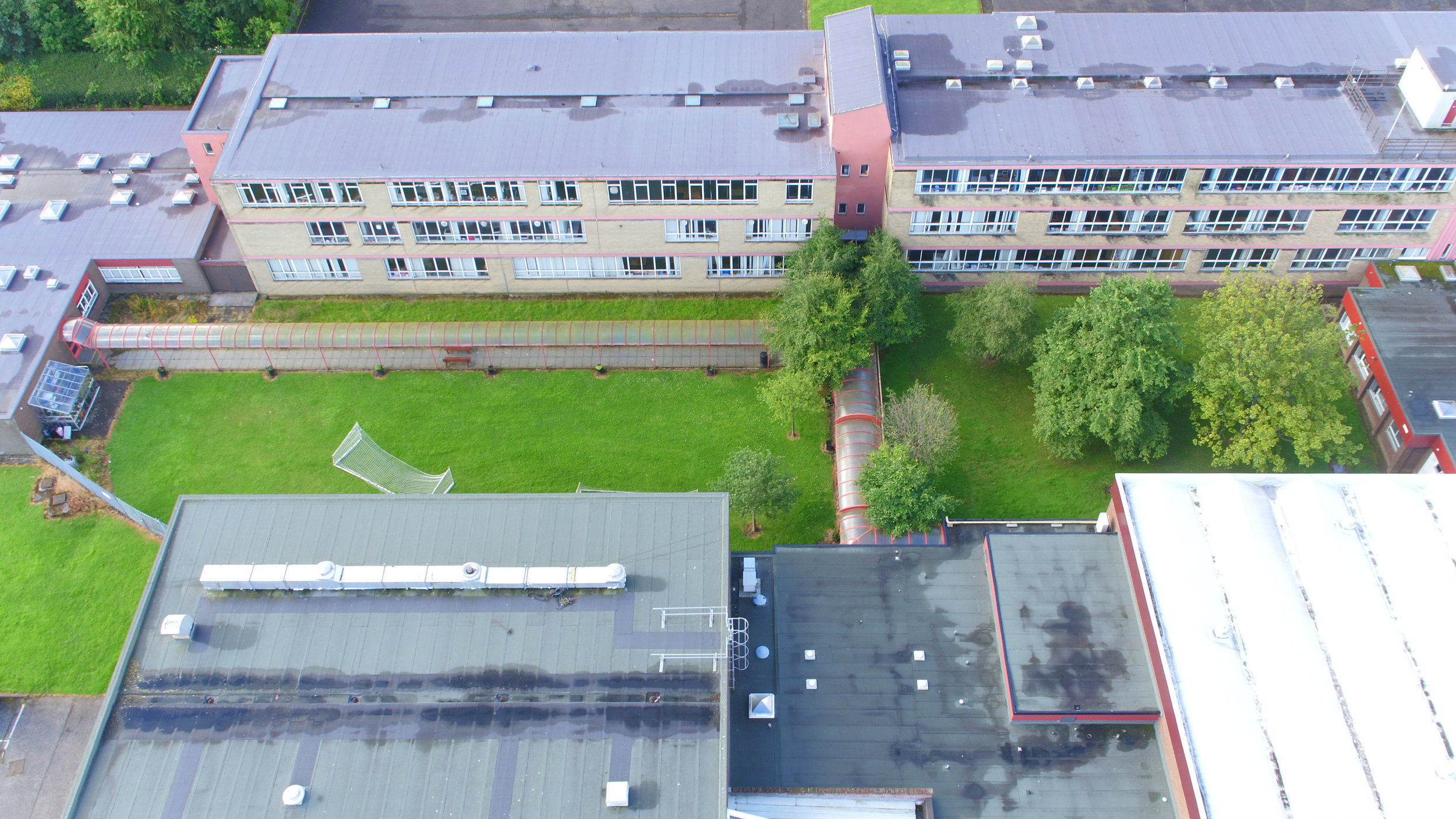 This survey was in two parts: a complete topographical and building survey and a drone fly-over to create a 3D point cloud model of the entire site. The topographical survey was conducted using two Trimble GNSS RTK rovers and a Trimble S-Series total station.