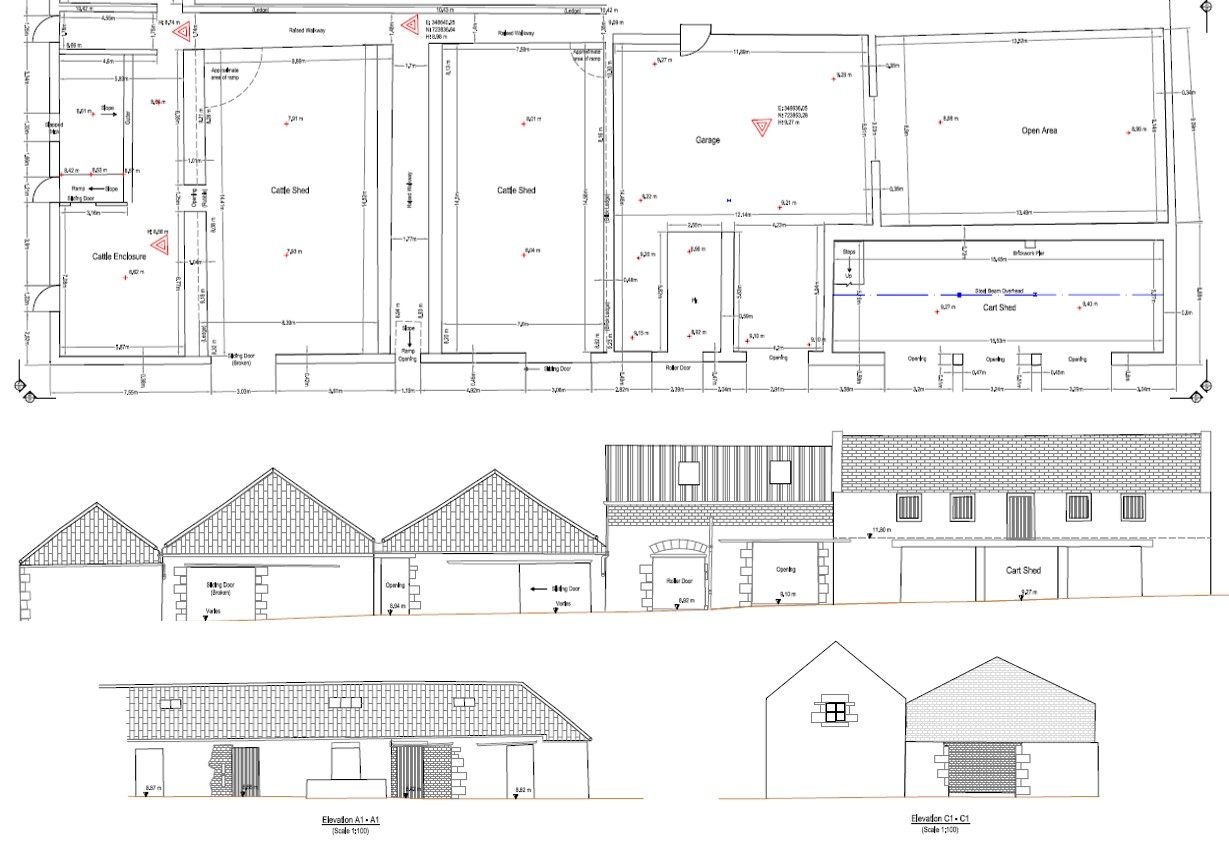 This old steading building near Perth is ready for development. On a cold, rainy day our team completed a full floor plan, elevation and topographical survey. Our client was delighted with the results.   Click to find out more about our land and building survey services