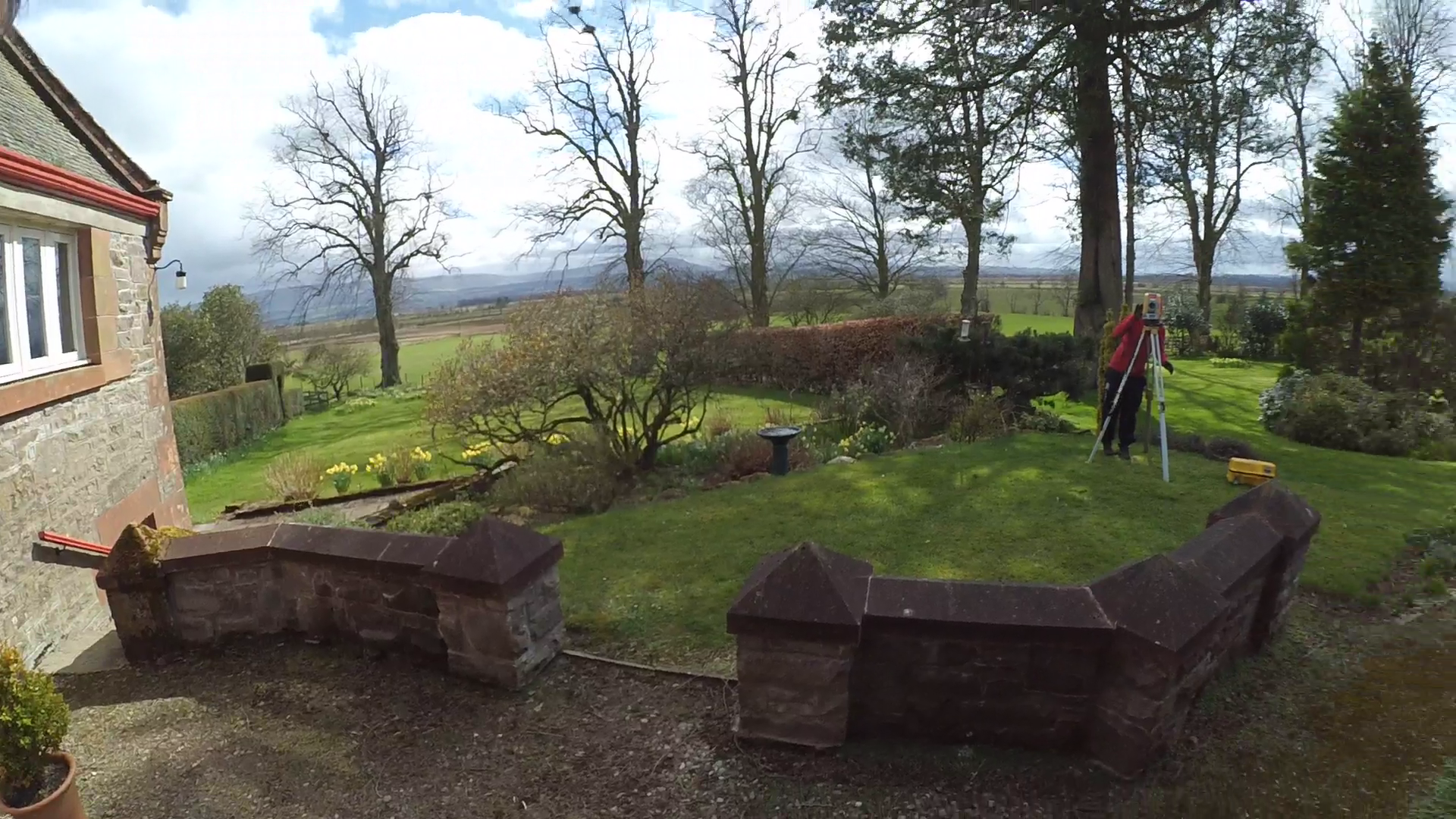 Sometimes you just can beat survey life. This is a still taken from a sunny March morning in a beautiful setting. Our client was planning to do a complete overhaul of their garden, starting with a topographical survey to enable their architect to put together some design proposals.  The .dxf and mesh models were then used for planning the new garden design in Trimble Sketchup...