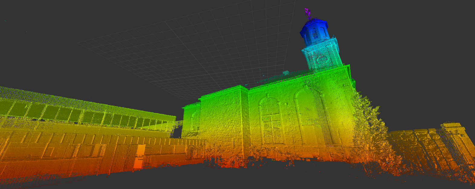 Cleaning the model of the ground points, our team could easily produce elevation drawings and sections. Each drawing was produced from the point cloud data and images recorded by the scanner.