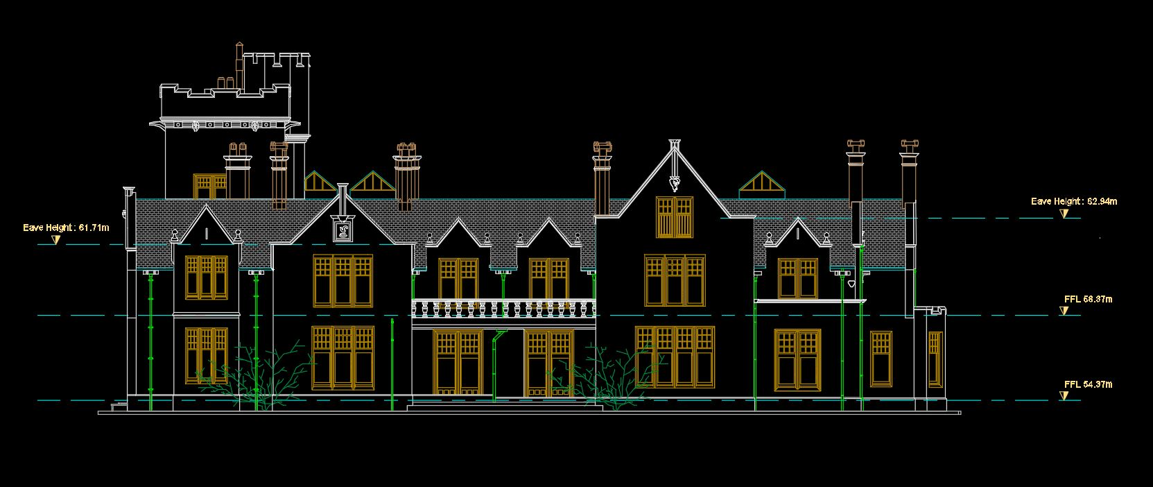 Elevation AA : 2D AutoCAD Drawing