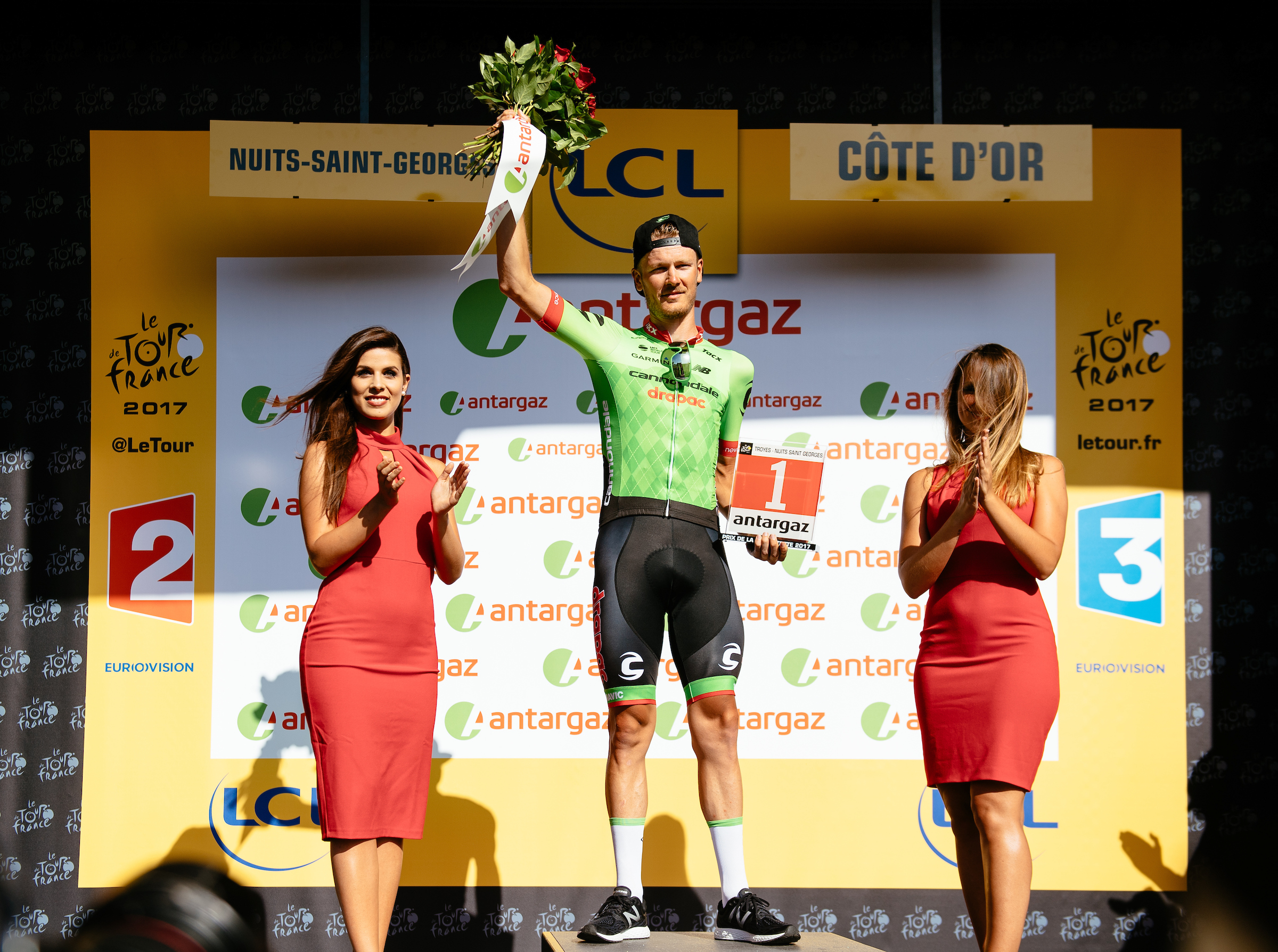 "Dylan Van Baarle took the Dossard Rouge on stage 7 - and honor wearing the ""red"" number for stage 8 as the most aggressive previous rider of the day"
