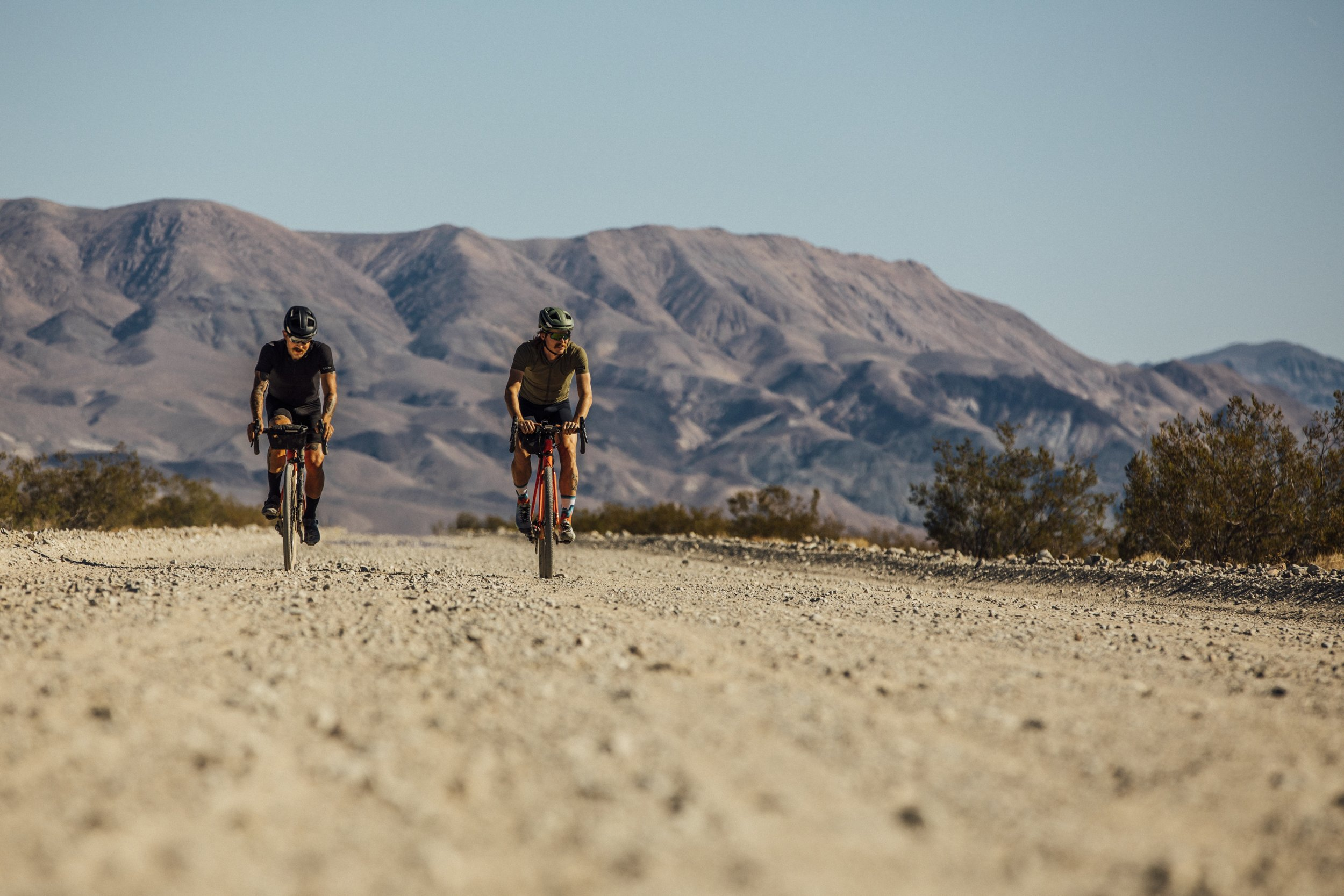 The boys take off, late afternoon, in the land of the godforsaken. Badwater Basin. -
