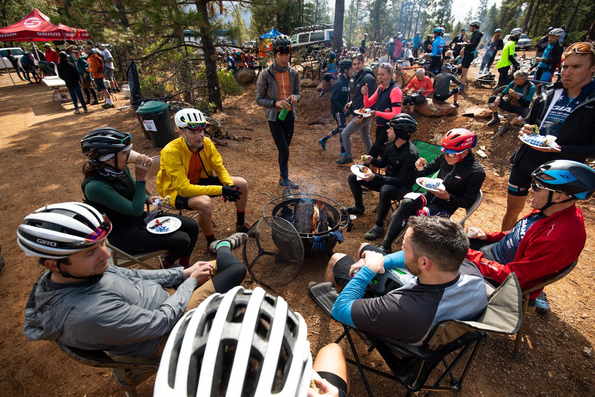 Cyclists Campfire California Gravel Bike Race